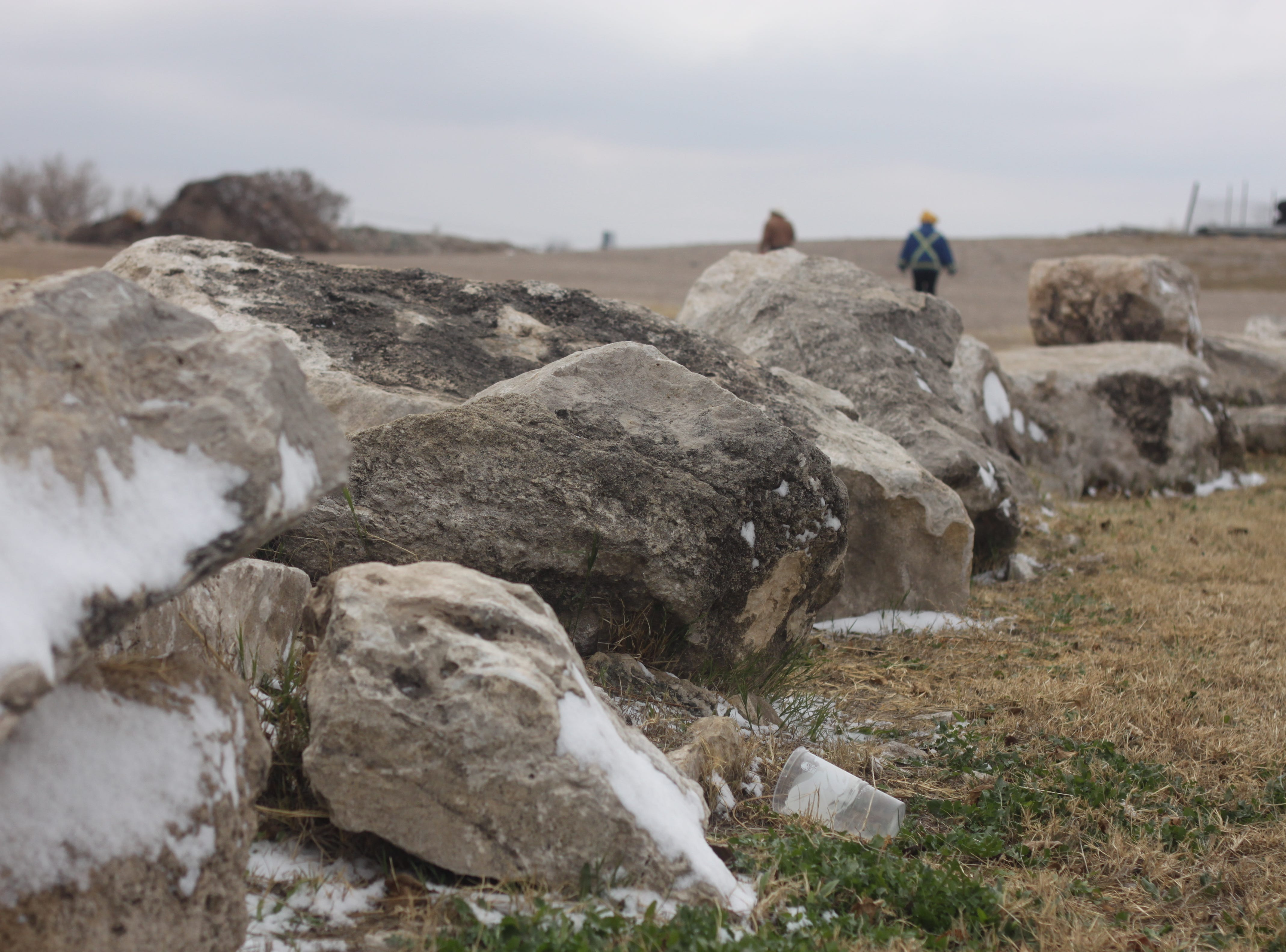Rocks near Tansil Dam have a thin coating of snow, Dec. 29, 2018 in Carlsbad.
