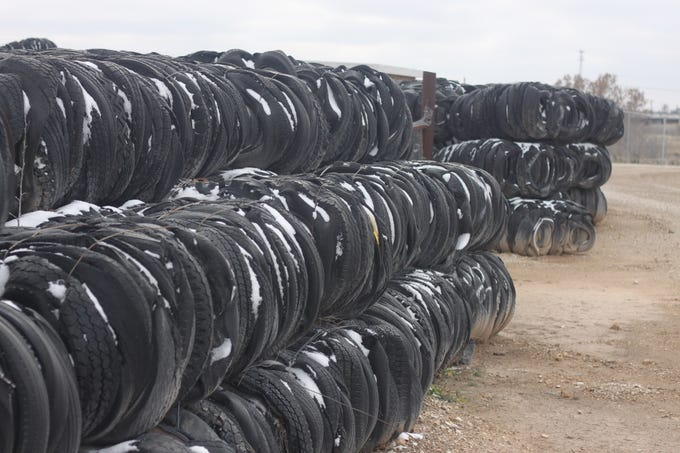 The tire yard near Lower Tansil Dam receives a dusting of snow, Dec. 29, 2018 in Carlsbad.