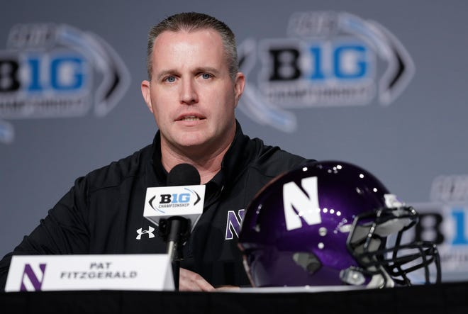 Northwestern head coach Pat Fitzgerald speaks during a news conference for the Big Ten Conference championship Nov. 30, 2018, in Indianapolis.