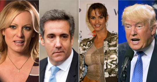 left to right: Stormy Daniels, Michael Cohen, Karen McDougal, Donald Trump