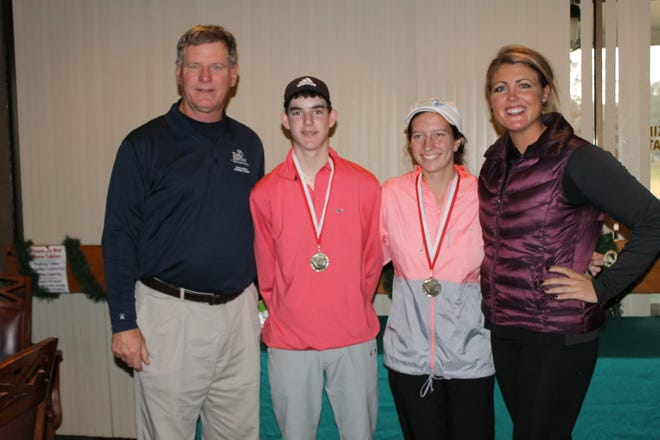 Winners of the 25th Tom Dorsey Winter Classic, Seth Rogers and Elise Schultz, join with Tom Dorsey Jr. (far left) and his daughter Kristen Dorsey at conclusion of the tournament. Dorsey was hired as the UWF women's golf coach in June 2019.