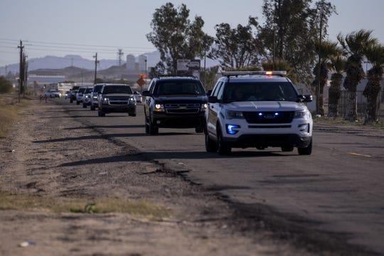 Department of Homeland Security Secretary Kirstjen Nielsen's motorcade arrives at a Border Patrol station on Saturday, Dec. 29, 2018, in Yuma, Ariz.