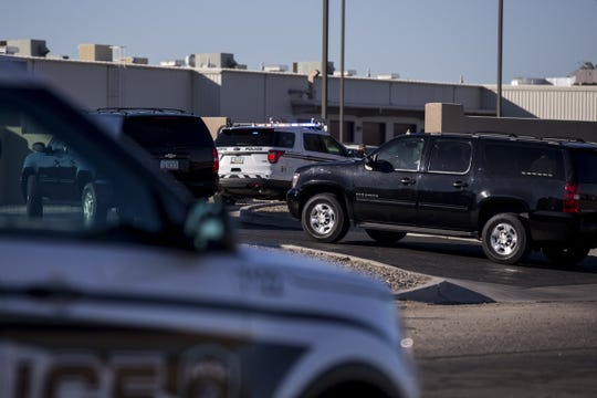 Department of Homeland Security Secretary Kirstjen Nielsen's motorcade arrives at a Border Patrol station on Saturday, Dec. 29, 2018, in Yuma, Ariz.