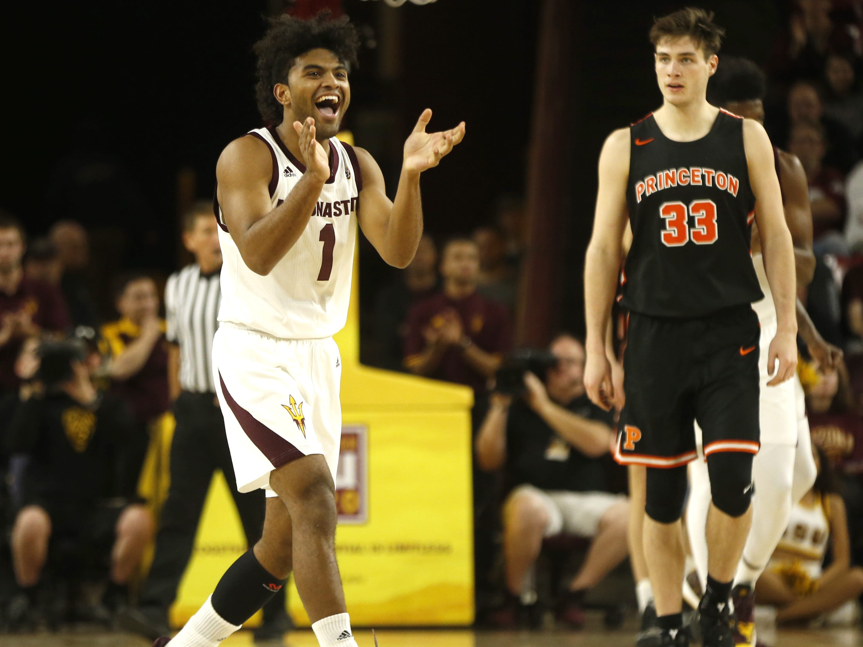 ASU's Remy Martin (1) reacts to forcing a travel against Princeton during the first half at Wells Fargo Arena in Tempe, Ariz. on December 29, 2018.
