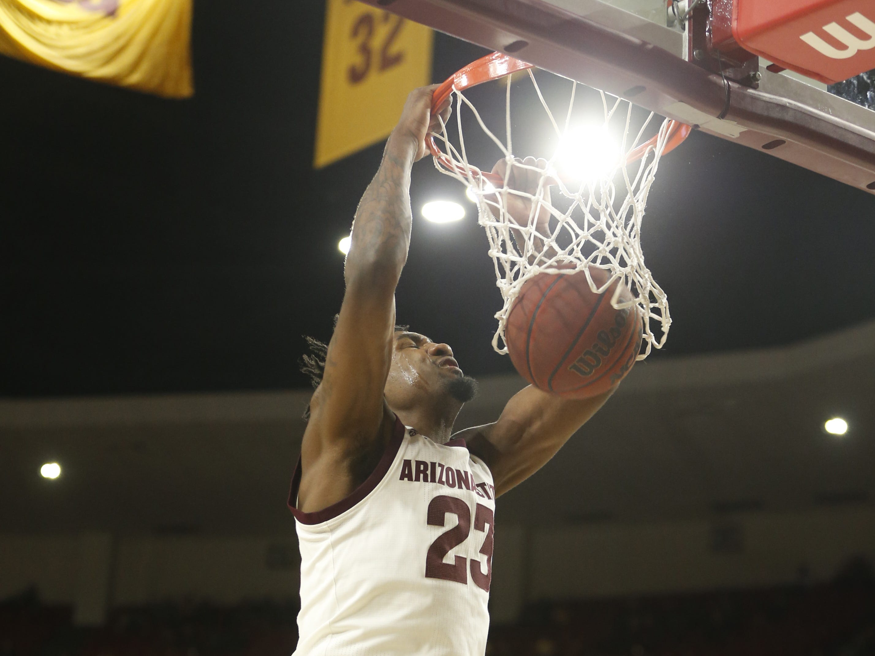 ASU's Romello White (23) dunks against Princeton during the first half at Wells Fargo Arena in Tempe, Ariz. on December 29, 2018.