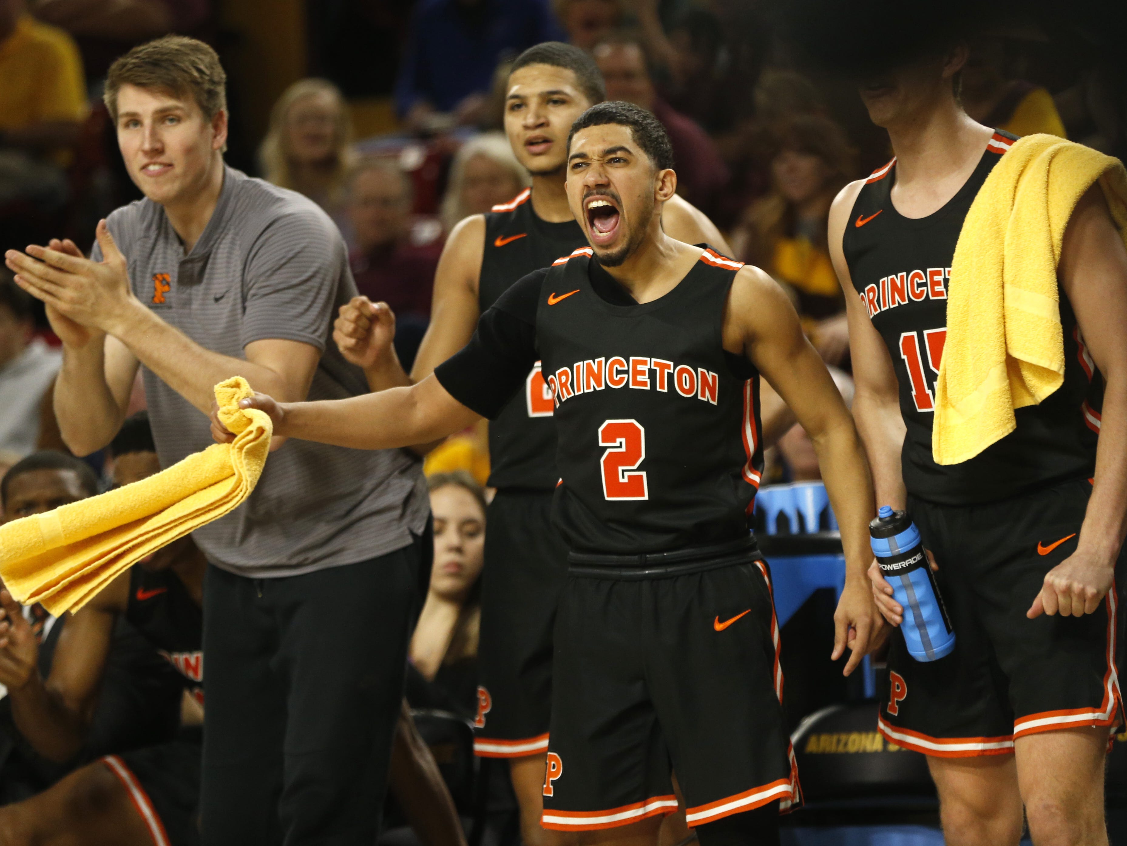 Princeton's Jose Morales (2) reacts after his team forces a turnover against ASU during the first half at Wells Fargo Arena in Tempe, Ariz. on December 29, 2018.