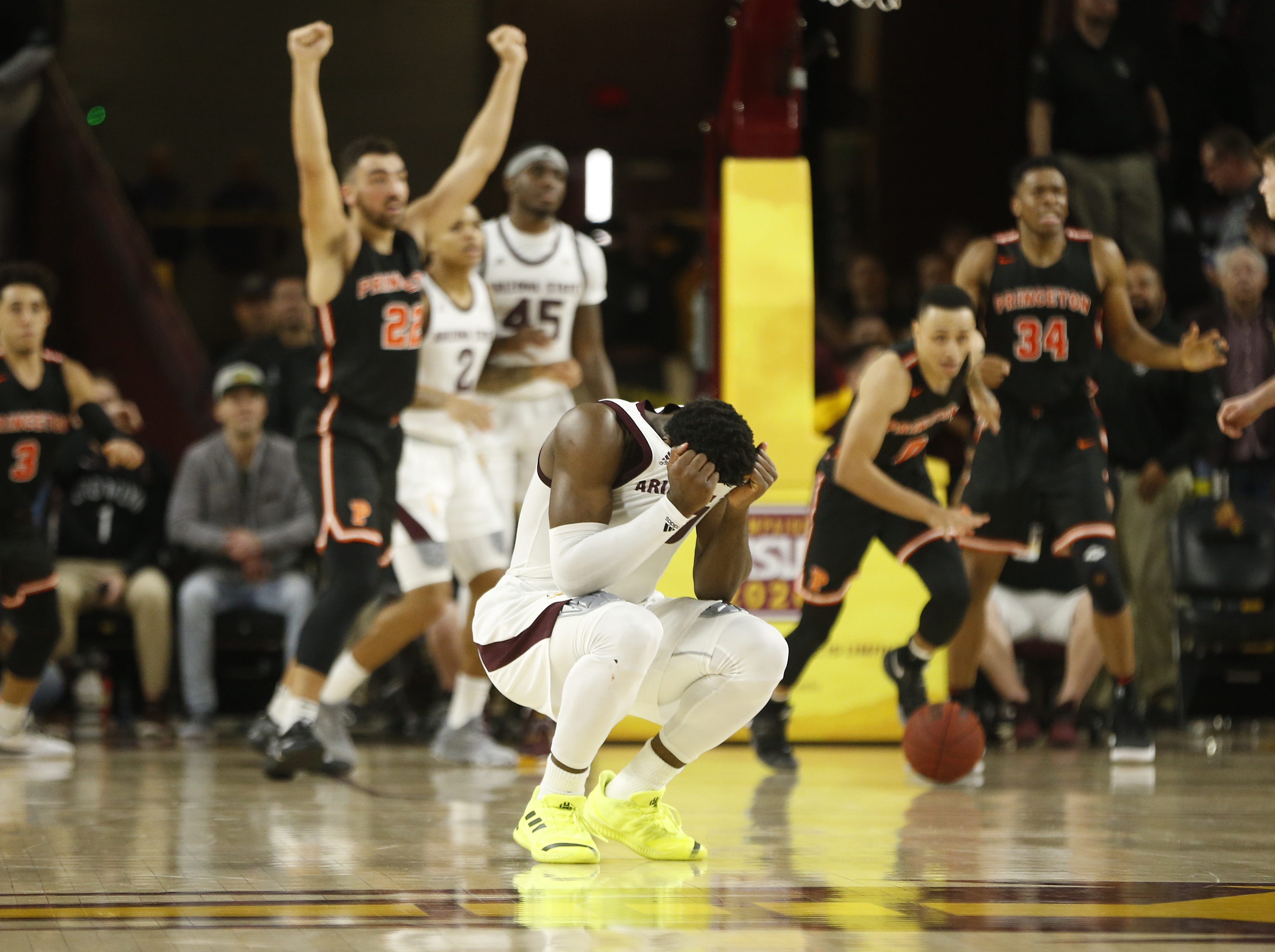 ASU's Luguentz Dort (0) reacts after missing a potential game-winning shot against Princeton during the second half in Tempe, Ariz. on December 29, 2018.