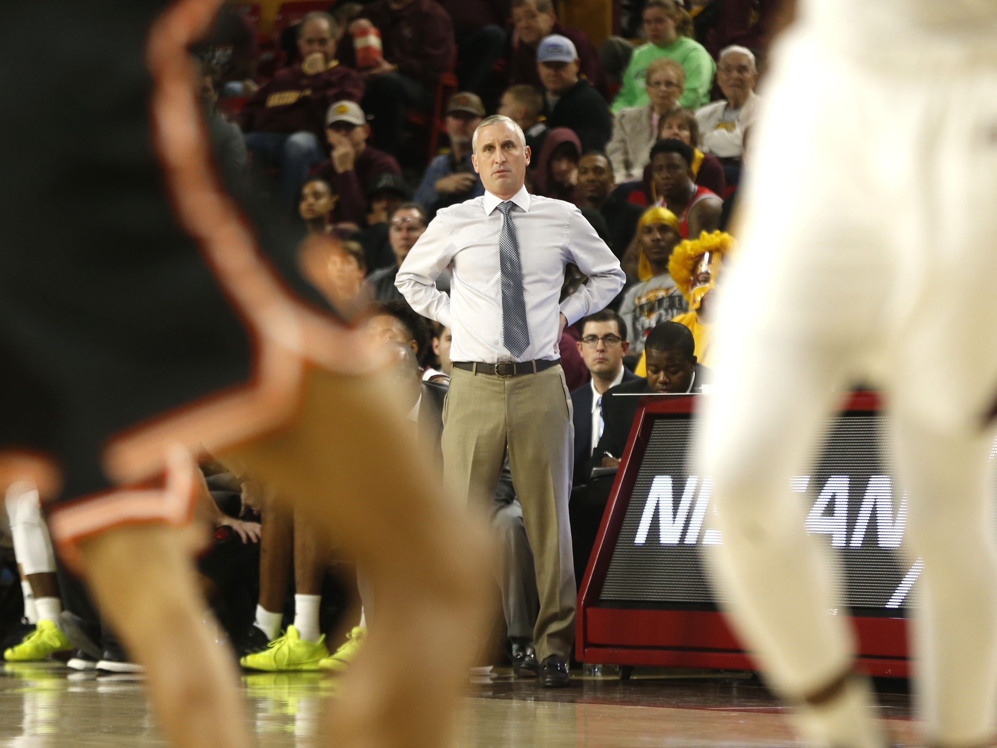 ASU's head coach Bobby Hurley watches his team play Princeton during the first half at Wells Fargo Arena in Tempe, Ariz. on December 29, 2018.