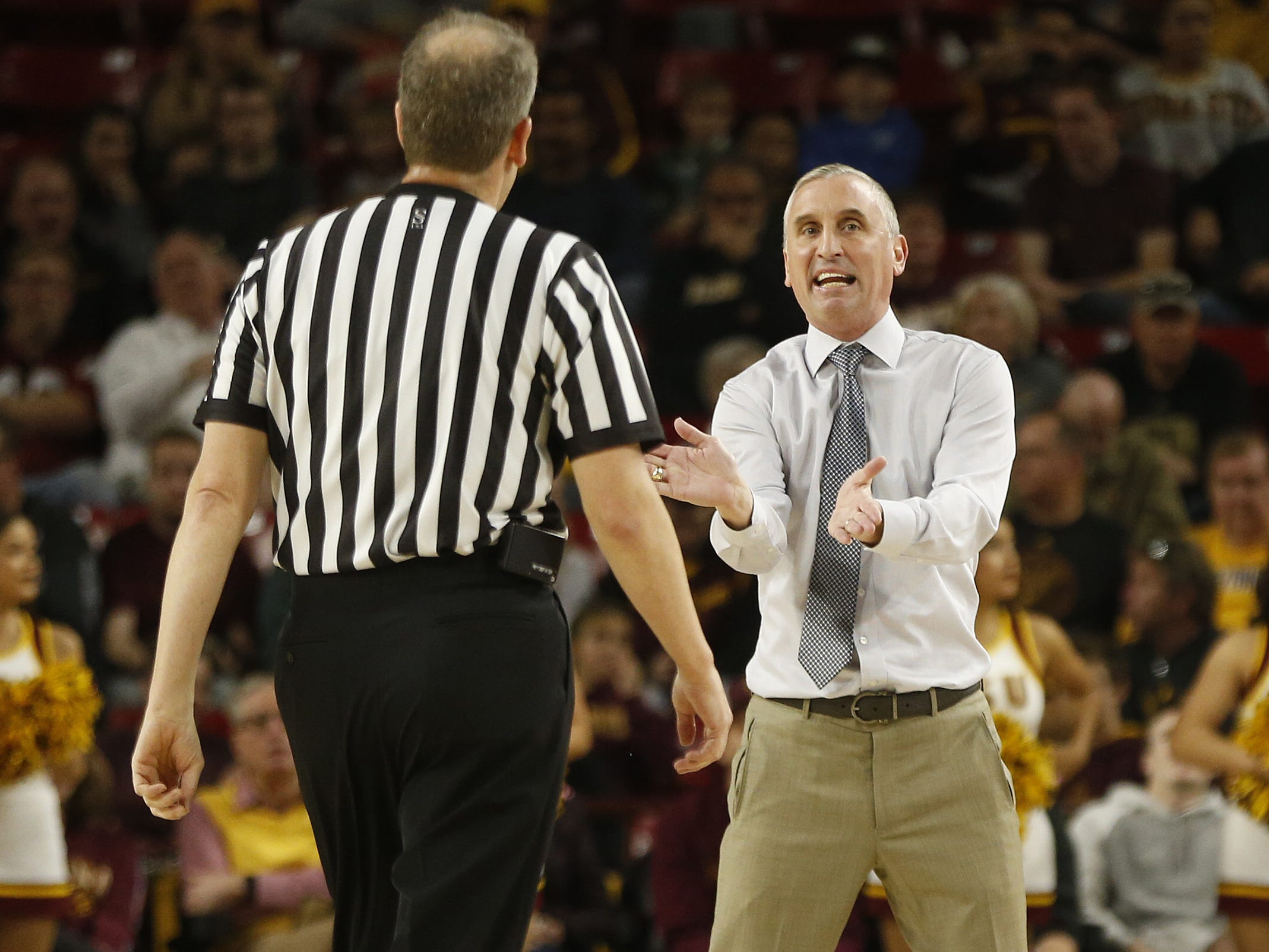 ASU's head coach Bobby Hurley argues with the officials during the first half against Princeton at Wells Fargo Arena in Tempe, Ariz. on December 29, 2018.