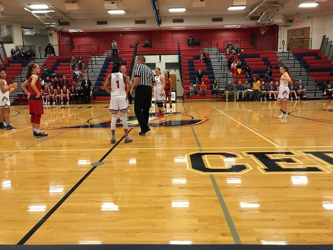 The Lebanon High girls basketball team gets set to tip-off against New Oxford in the championship game of the Lebanon Athletic Boosters Holiday Tournament on Friday night. New Oxford won, 60-38.
