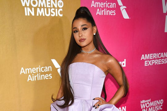 In a Thursday, Dec. 6, 2018 file photo, Ariana Grande attends the 13th annual Billboard Women in Music event in New York.