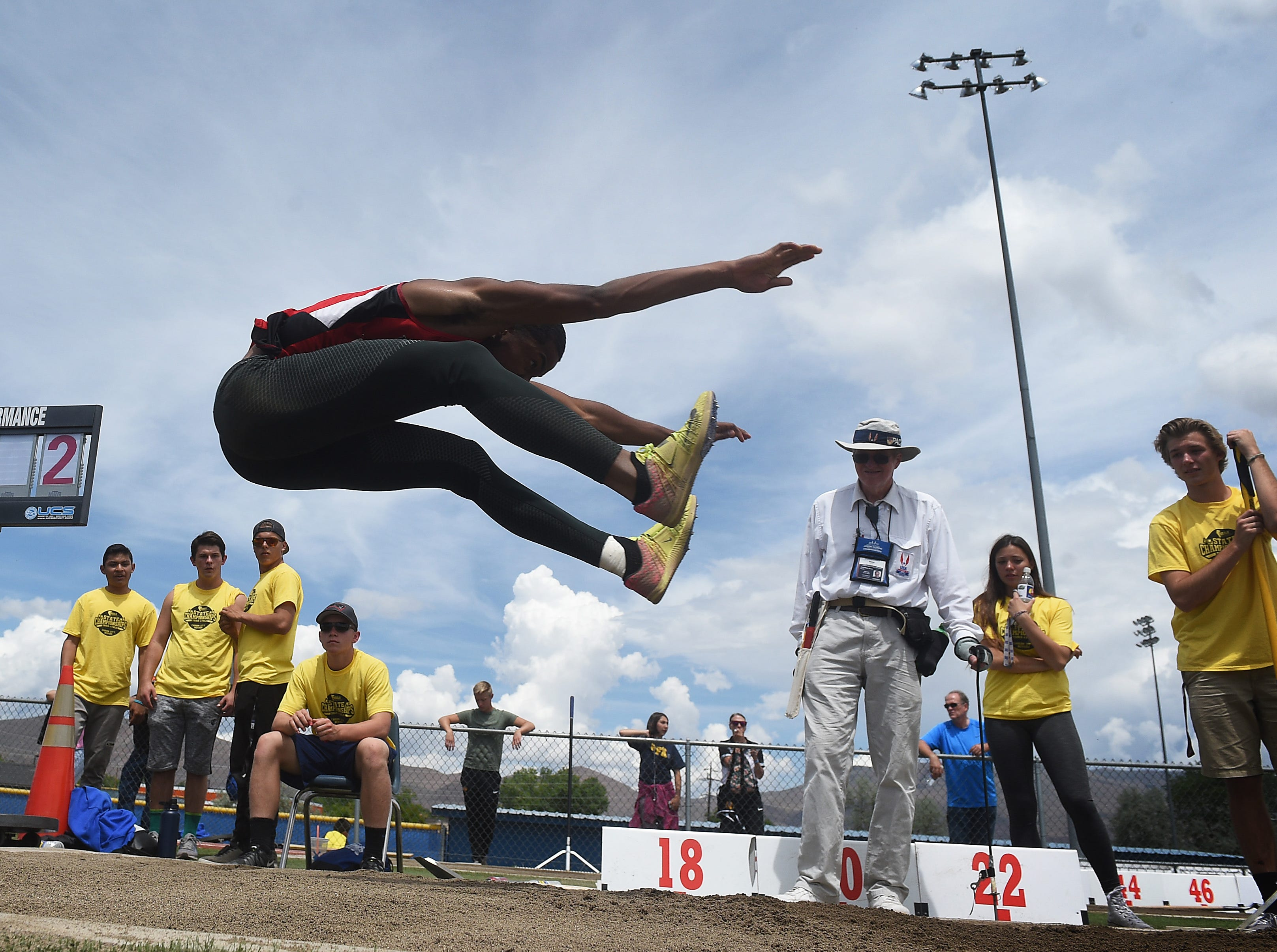 Las Vegas High's Marlon Harrison competes in the long jump during the NIAA Nevada State High School Track & Field Championships in Carson City on May 19, 2018.