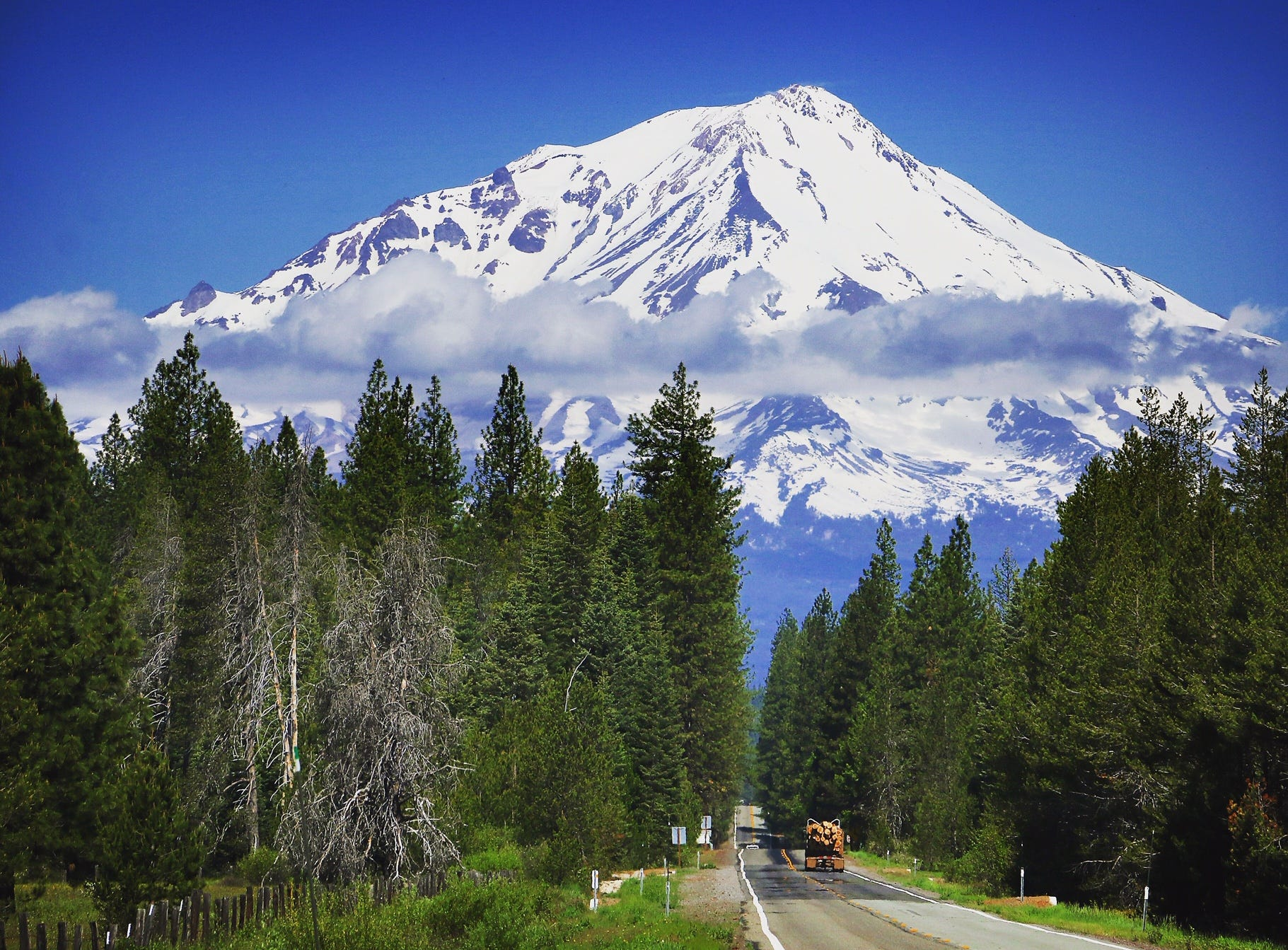 Mt. Shasta is seen in the spring of 2018.