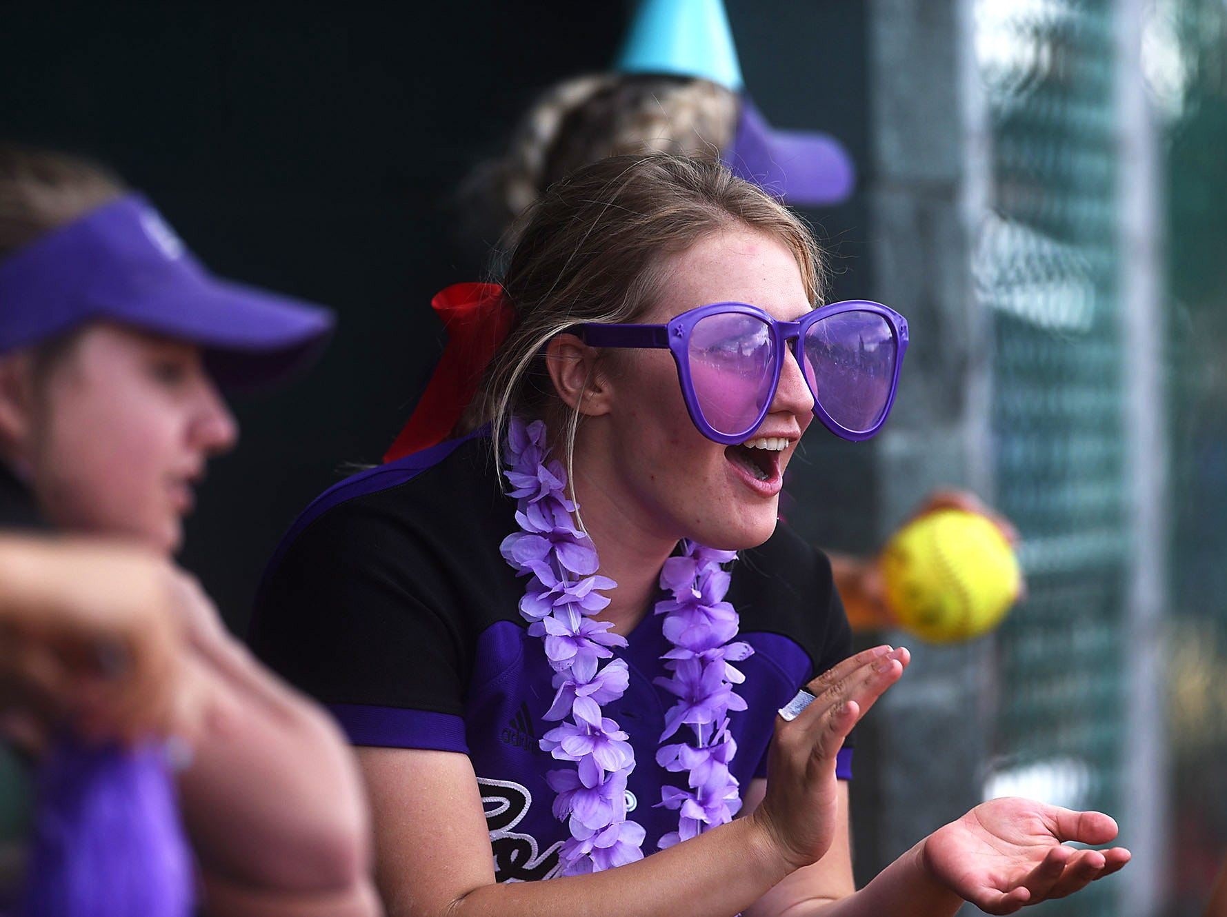 Spanish Springs players cheer during the NIAA  softball state championships at Bishop Manogue in Reno on May 17, 2018.
