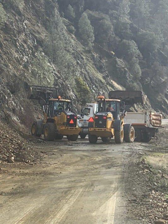 Mudslide on Highway 299 in Trinity County
