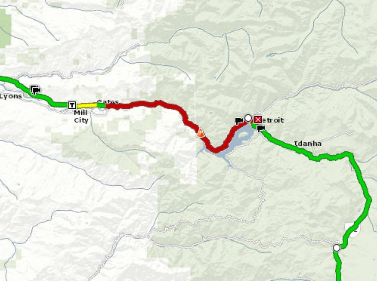 Highway 22 is closed between Gates and Detroit as of Saturday morning.