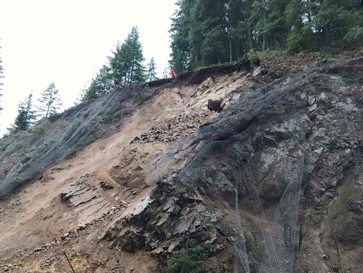 This rockslide near Detroit closed Oregon Highway 22 as of Saturday morning.