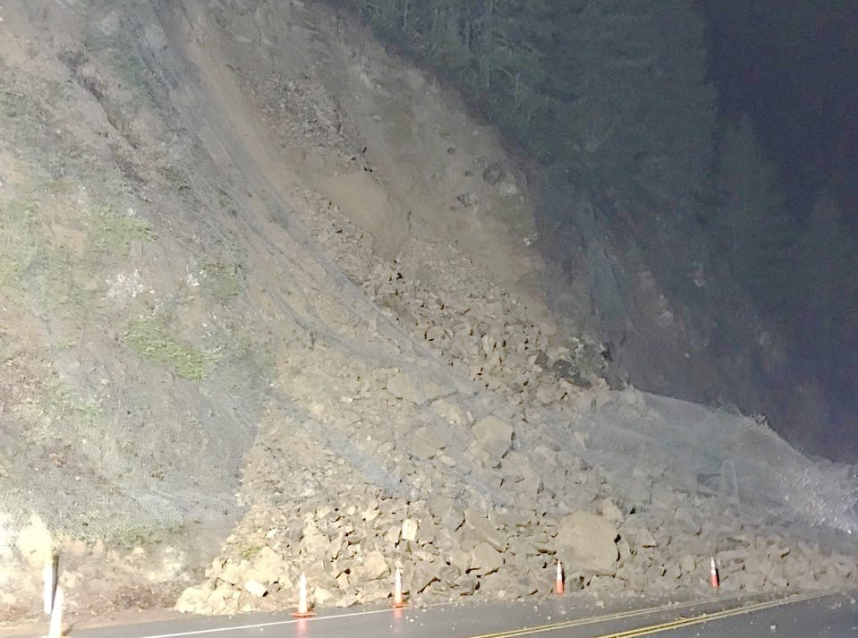 A rockslide near Detroit has closed Highway 22 into Saturday morning.