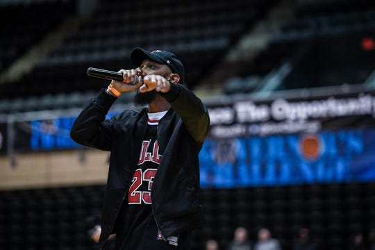 C Mack performs before the slam dunk competition at the Governor's Challenge basketball tournament in Salisbury on Friday, Dec. 28, 2018.