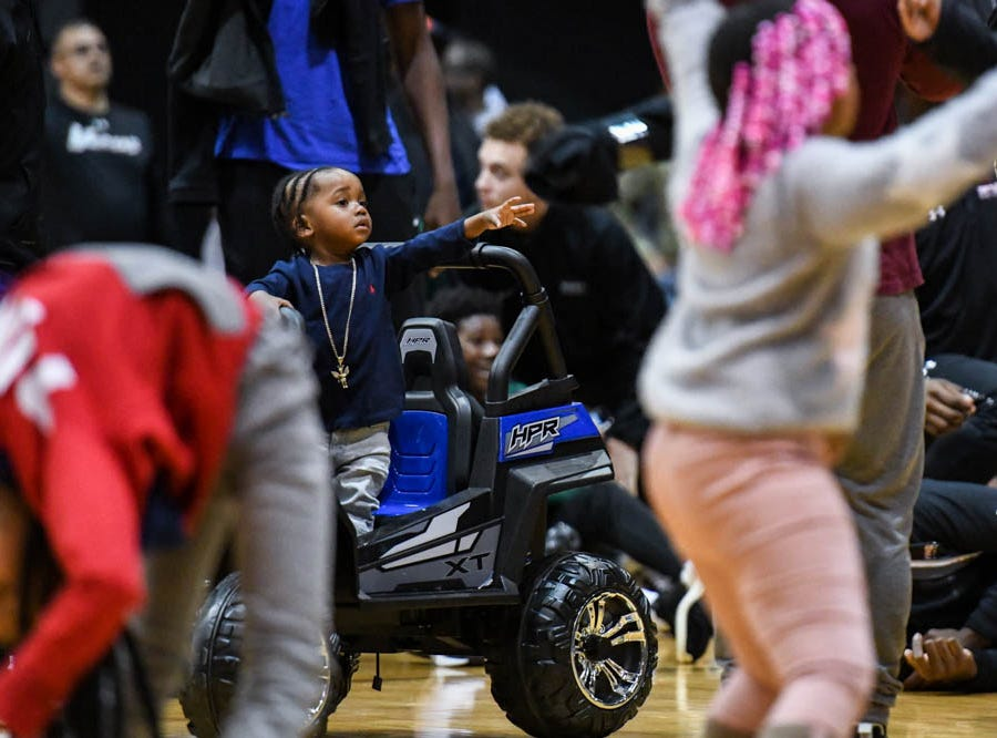 Dusty Boy performs before the slam dunk competition at the Governor's Challenge basketball tournament in Salisbury on Friday, Dec. 28, 2018.