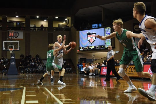 Sioux Falls Christian's Zach Witte (33) looks to pass the ball during a game against Breckenridge at the Hoop City Classic at the Sanford Pentagon in Sioux Falls, S.D., Saturday, Dec. 29, 2018.