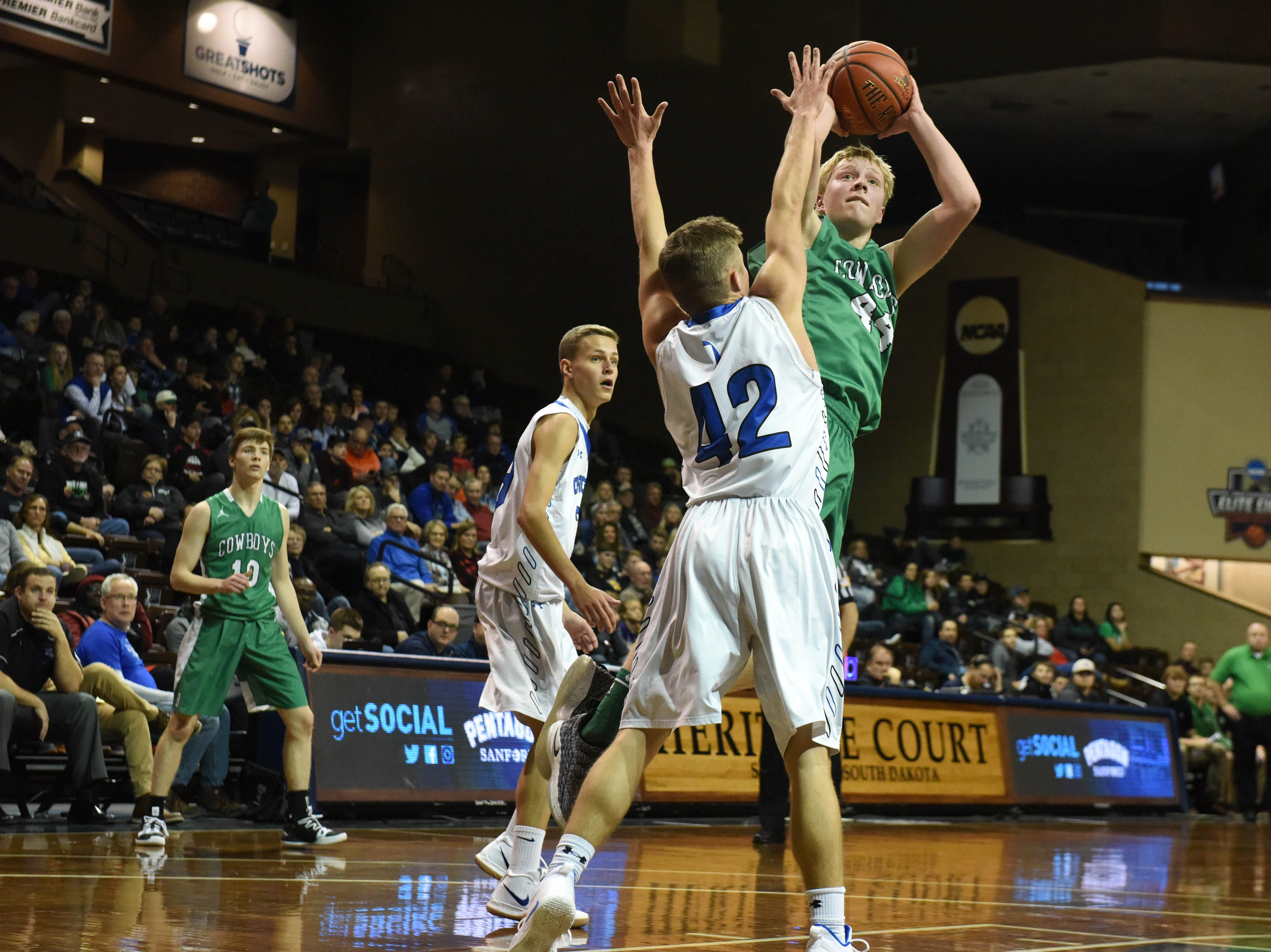 Breckenridge's Jonah Christensen (44) goes up for a shot during a game against Sioux Falls Christian at the Hoop City Classic at the Sanford Pentagon in Sioux Falls, S.D., Saturday, Dec. 29, 2018.
