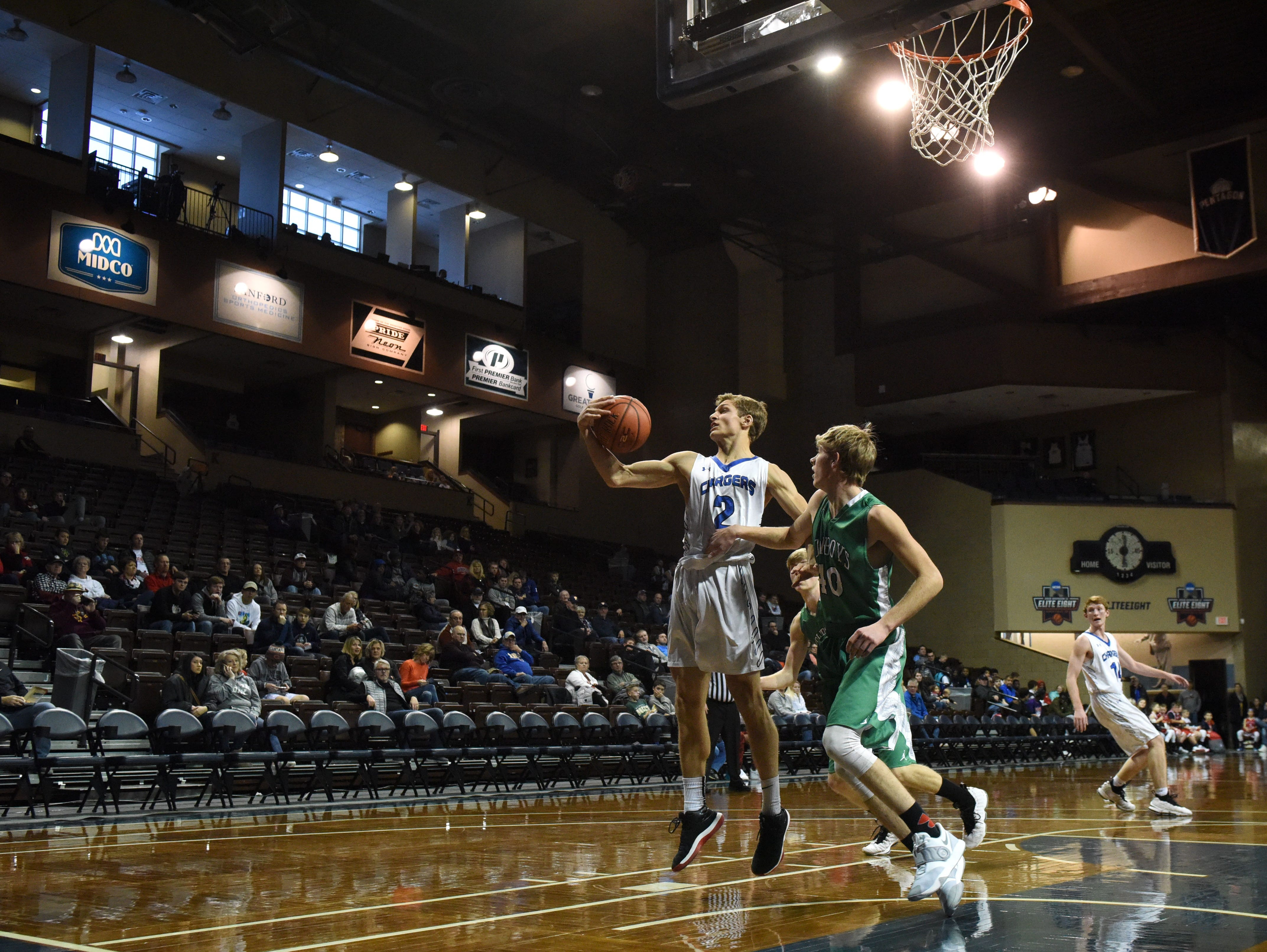Sioux Falls Christian's Colliin Reitsma (2) grabs the ball during a game against Breckenridge at the Hoop City Classic at the Sanford Pentagon in Sioux Falls, S.D., Saturday, Dec. 29, 2018.