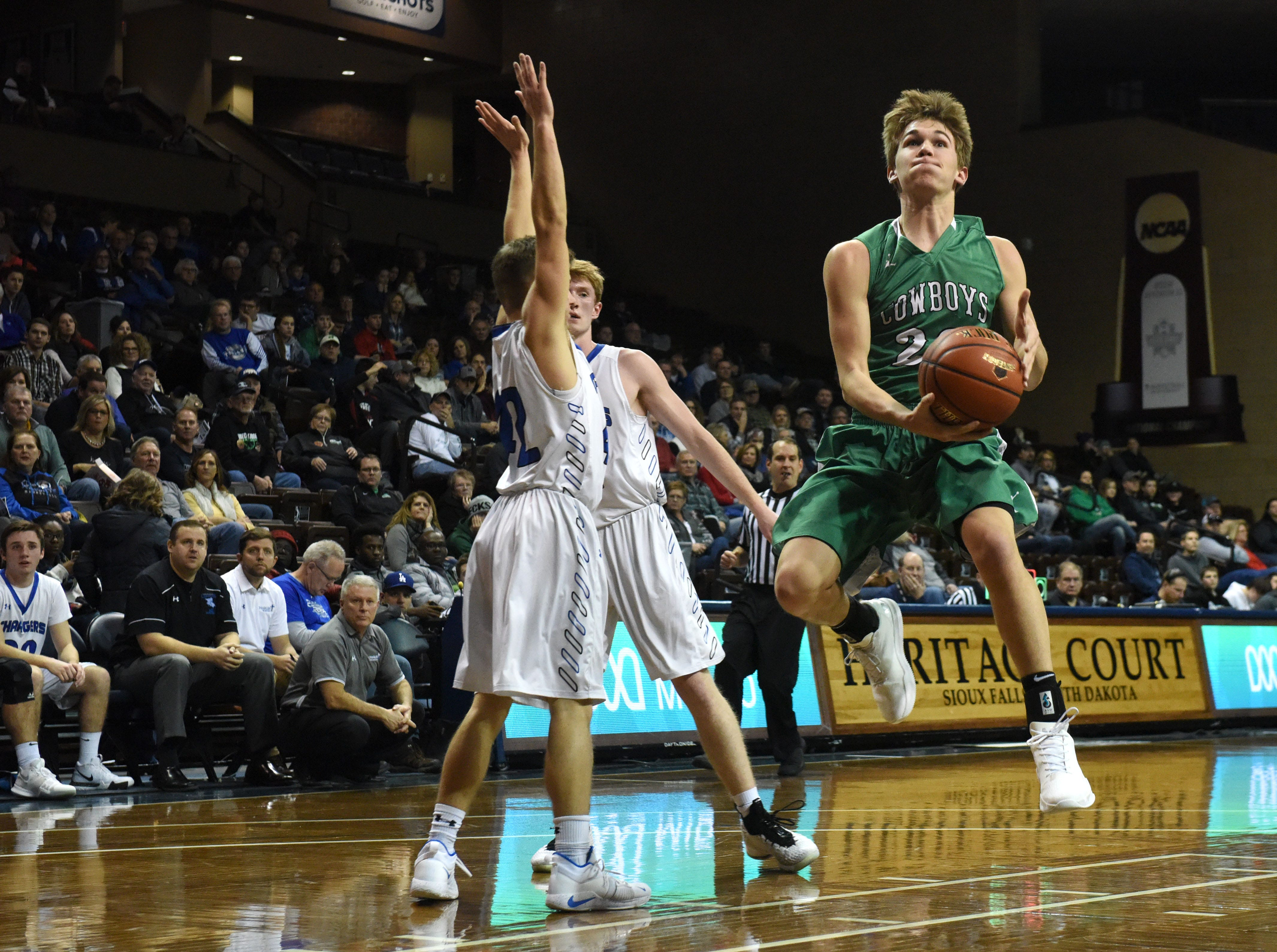 Breckenridge's Max Johnson (20) goes up for a shot during a game against Sioux Falls Christian at the Hoop City Classic at the Sanford Pentagon in Sioux Falls, S.D., Saturday, Dec. 29, 2018.