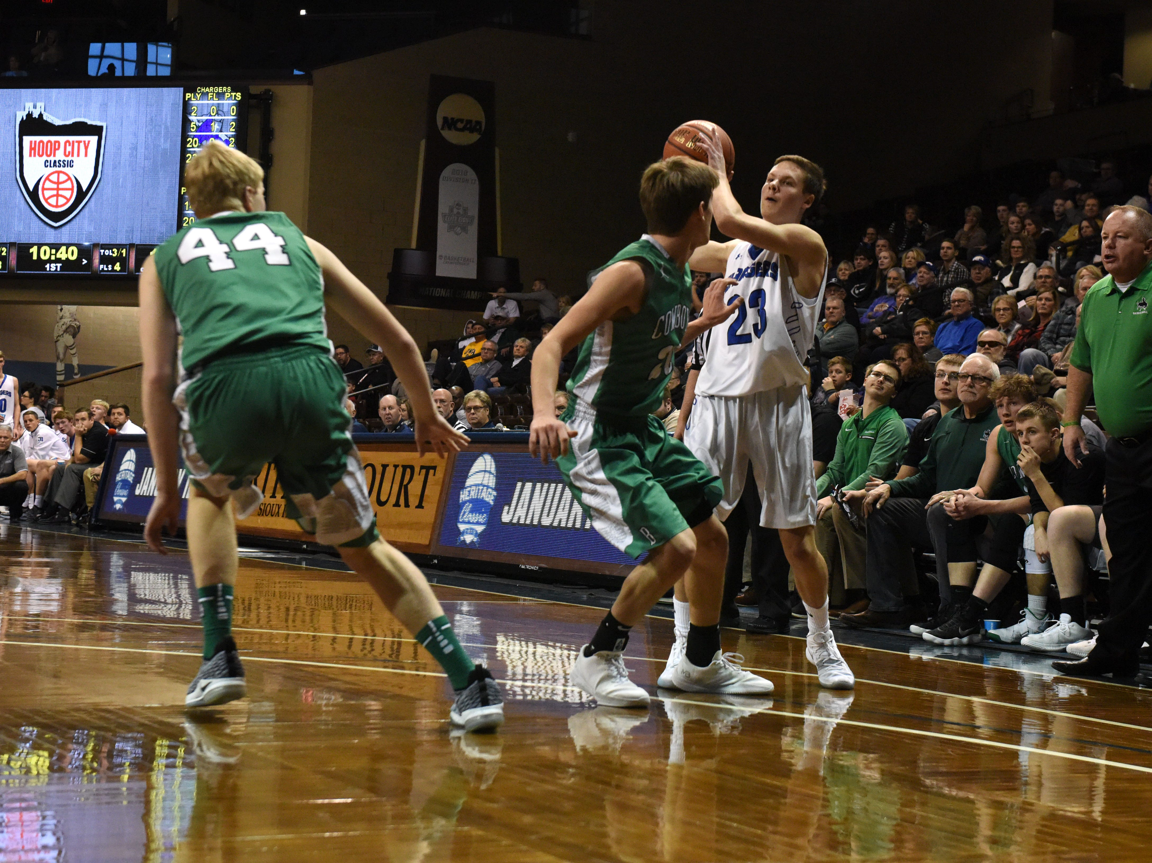 Sioux Falls Christian's Xavier Van Beek (23) looks to pass the ball during a game against Breckenridge at the Hoop City Classic at the Sanford Pentagon in Sioux Falls, S.D., Saturday, Dec. 29, 2018.