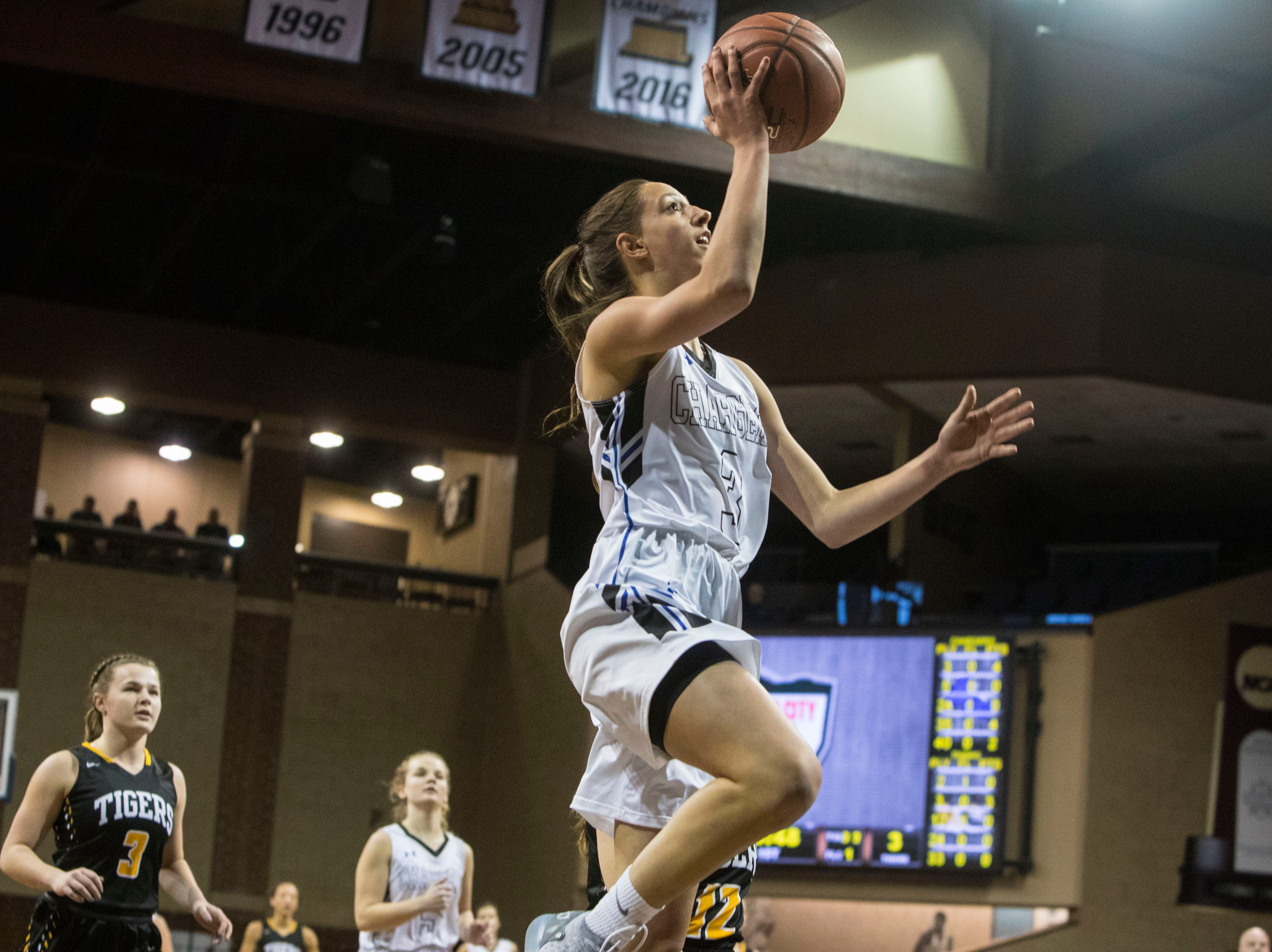 Sioux Falls Christian's Lexi Unruh (3) shoots the ball during a game against Hutchinson at the Hoop City Classic at the Sanford Pentagon in Sioux Falls, S.D., Saturday, Dec. 29, 2018.