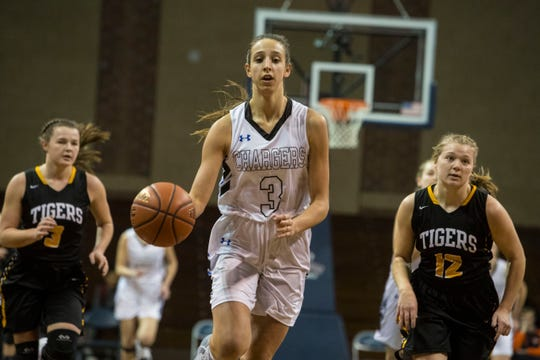 Sioux Falls Christian's Lexi Unruh (3) brings the ball up against Hutchinson on Saturday. Unruh finished with 22 points, 11 steals, two assists, two blocks and two rebounds.