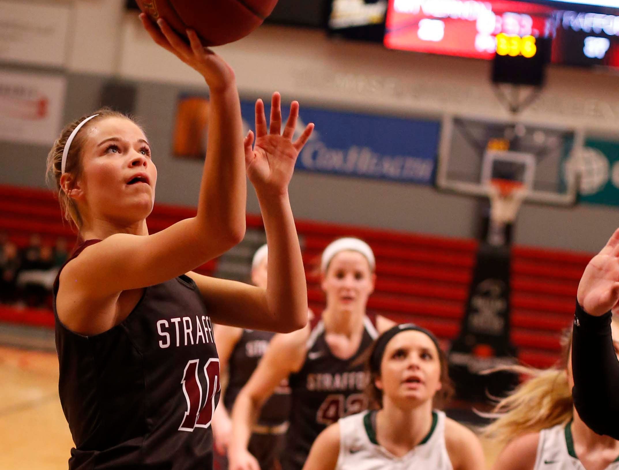The Strafford Lady Indians against Mt Vernon at Drury on December 29, 2018.