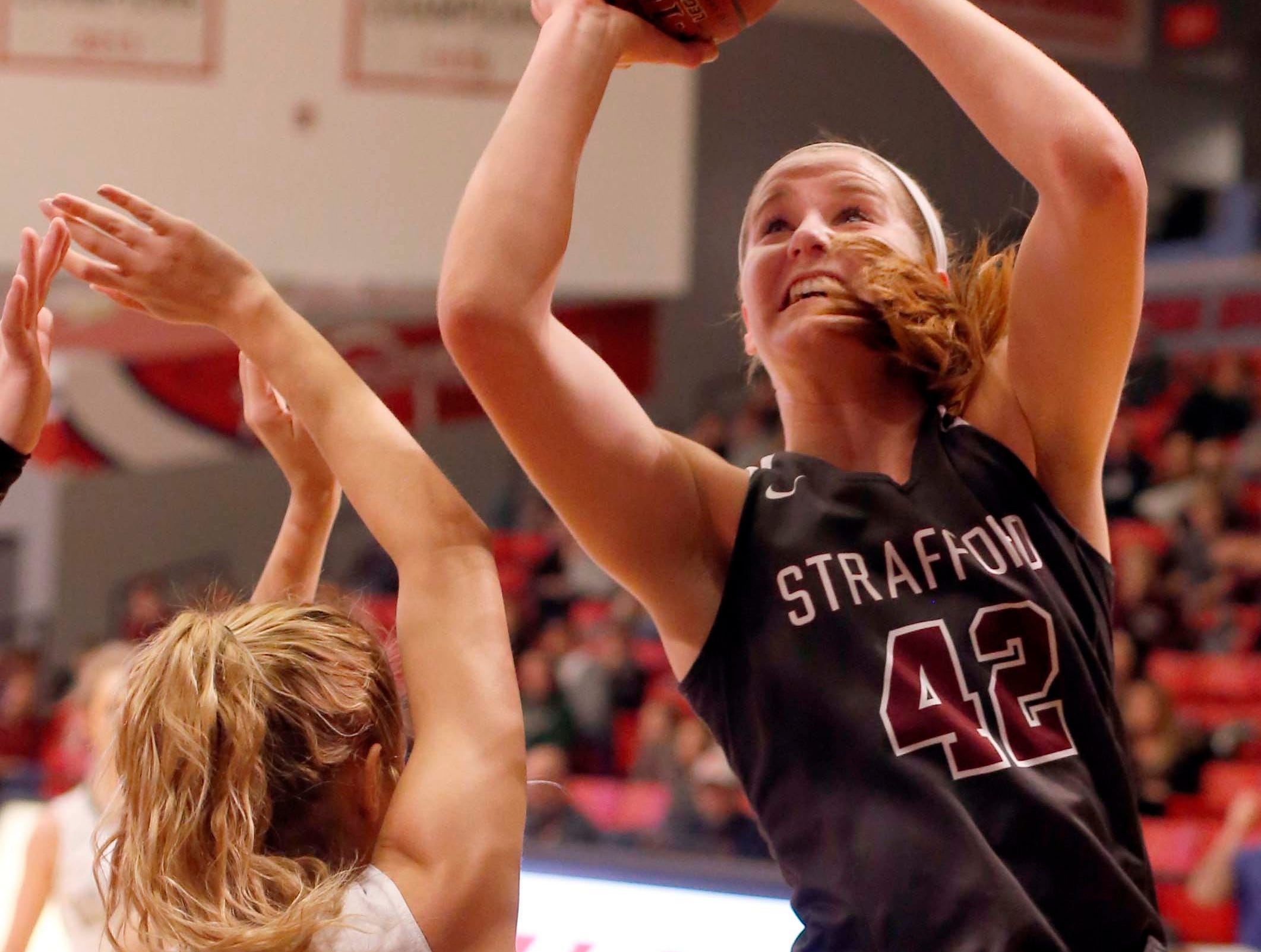 The Strafford Lady Indians' Hayley Frank shoots against Mt Vernon at Drury on December 29, 2018.