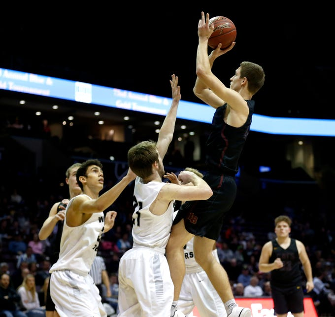 Logan-Rogersville's Cade Blevins shoots a field goal on the Willard Tigers during a semi-final Blue Division game at the 2018 Blue and Gold Tournament at JQH Arena on Friday, Dec. 28, 2018.