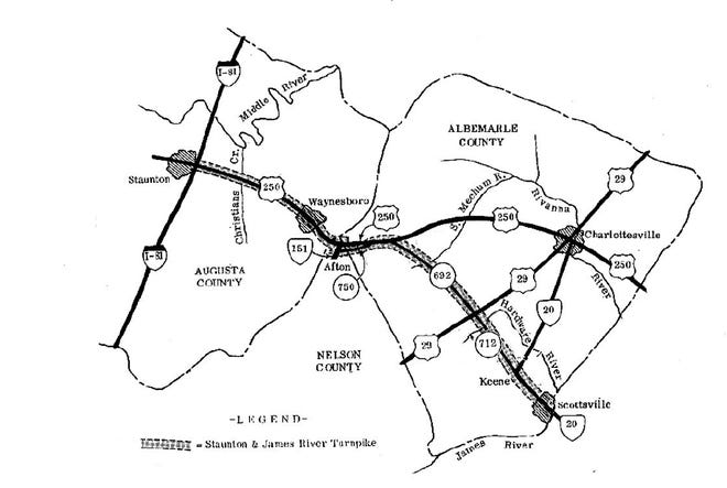 Map showing original turnpike route to Scottsville and modern-day highways.
