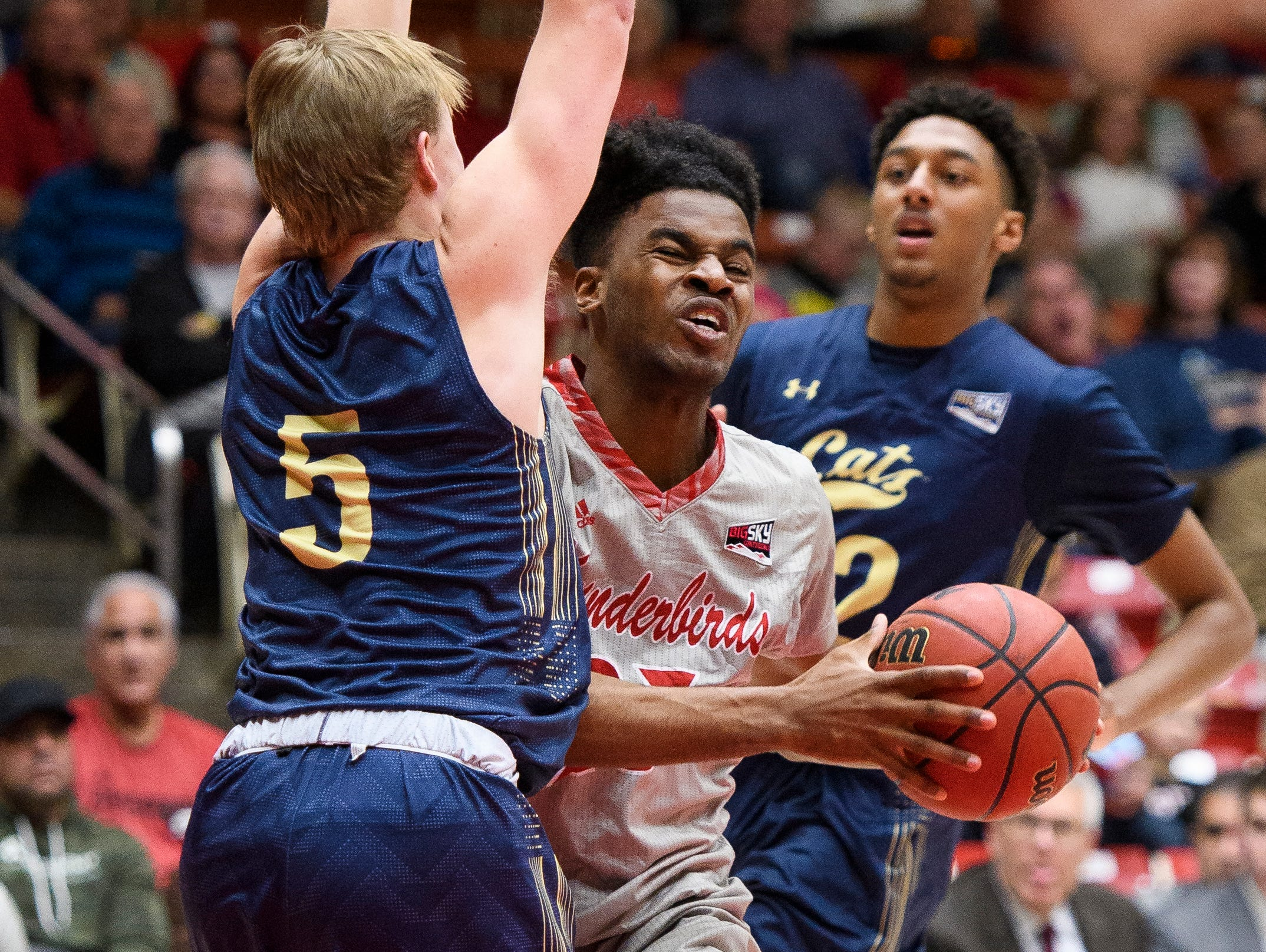 Southern Utah University junior Cameron Oluyitan (23) runs into Montana State University junior Harald Frey (5) during the game in the America First Event Center Saturday, December 29, 2018. SUU lost, 92-62.