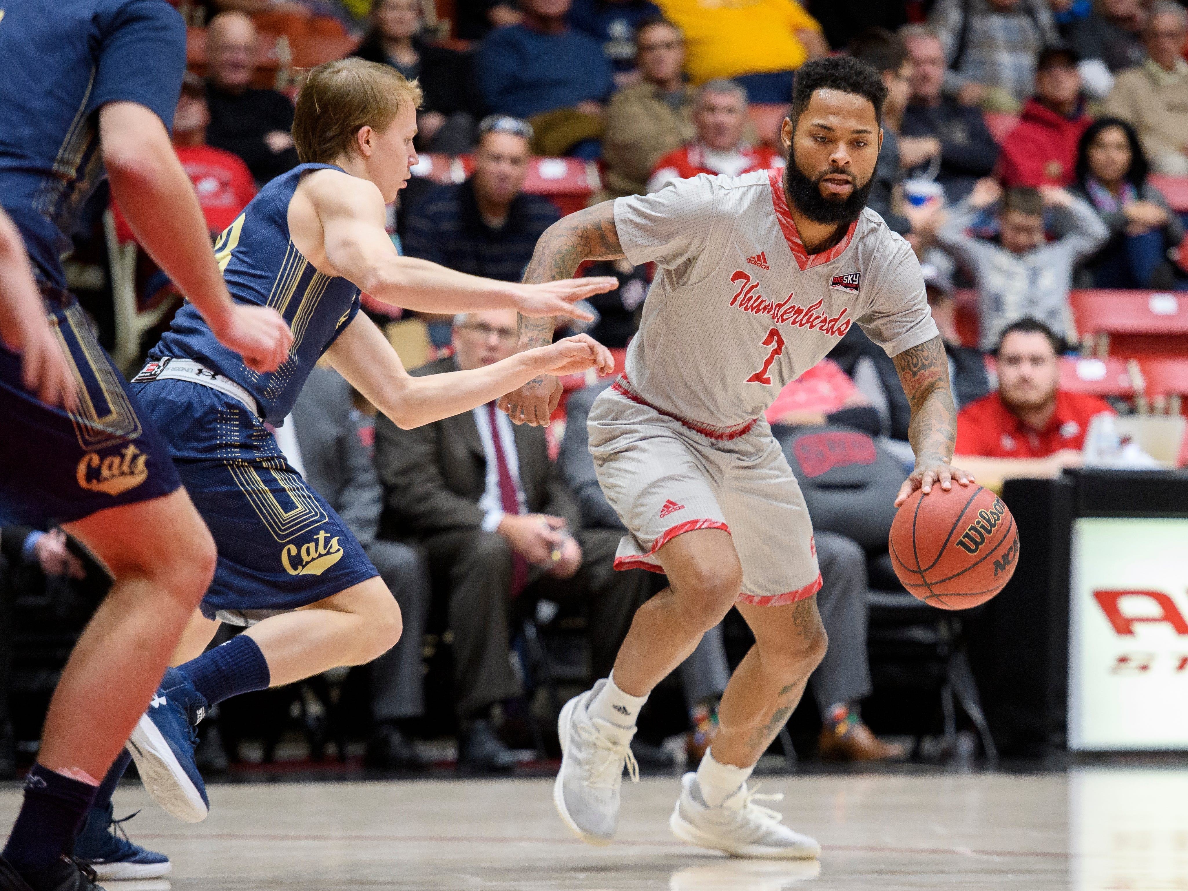 Southern Utah University senior Brandon Better (2) moves the ball against Montana State in the America First Event Center Saturday, December 29, 2018. SUU lost 92-62.