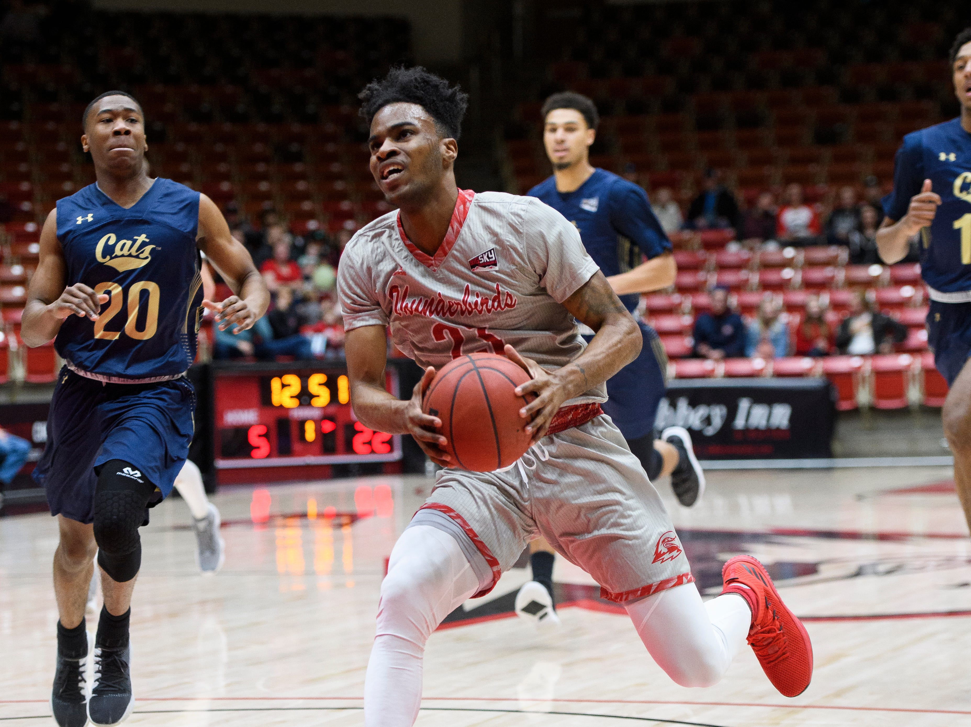 Southern Utah University junior Andre Adams (32) runs for the basket against Montana State in the America First Event Center Saturday, December 29, 2018. SUU lost, 92-62.