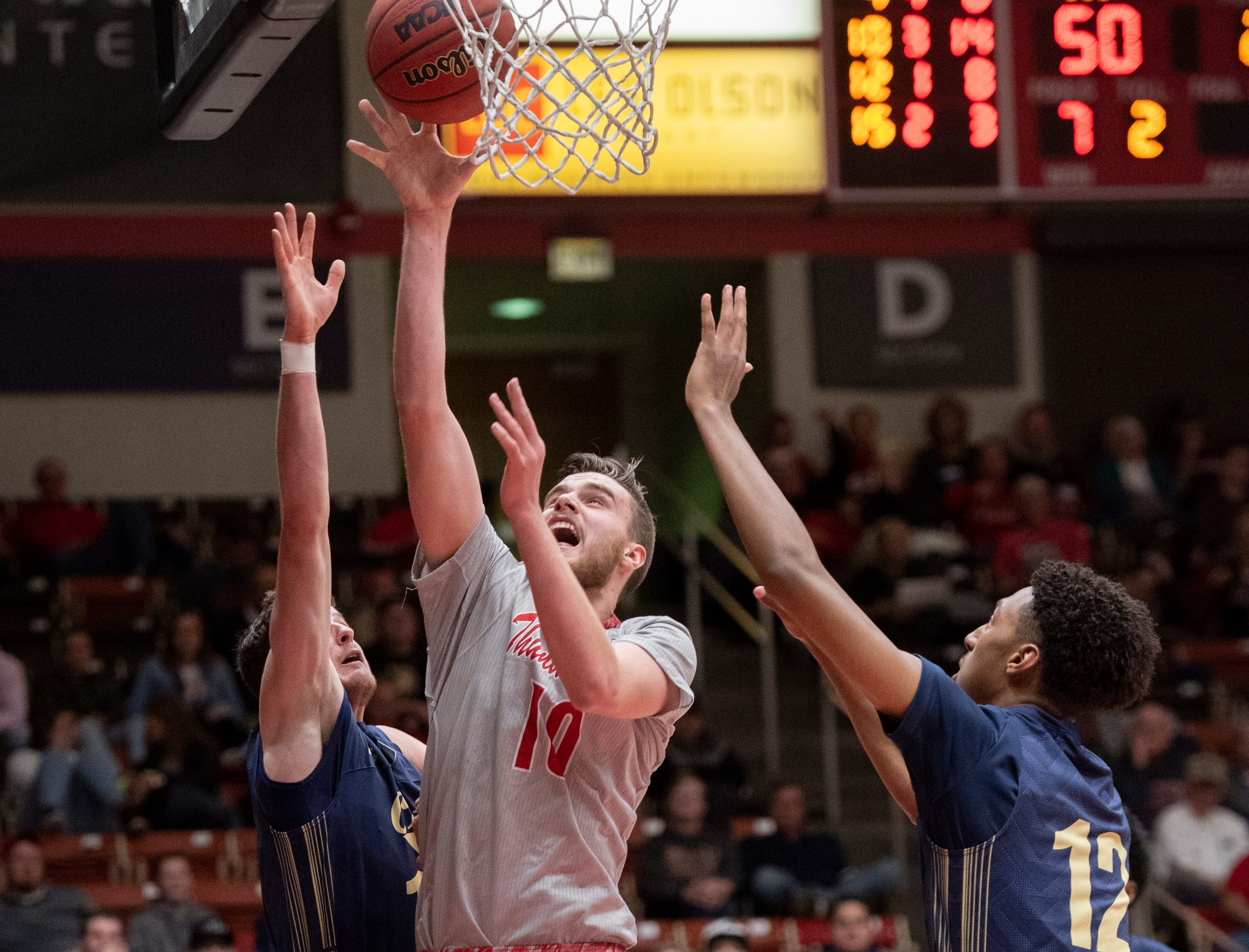 Southern Utah University junior Jacob Calloway (10) takes a shot against Montana State in the America First Event Center Saturday, December 29, 2018. SUU lost, 92-62.