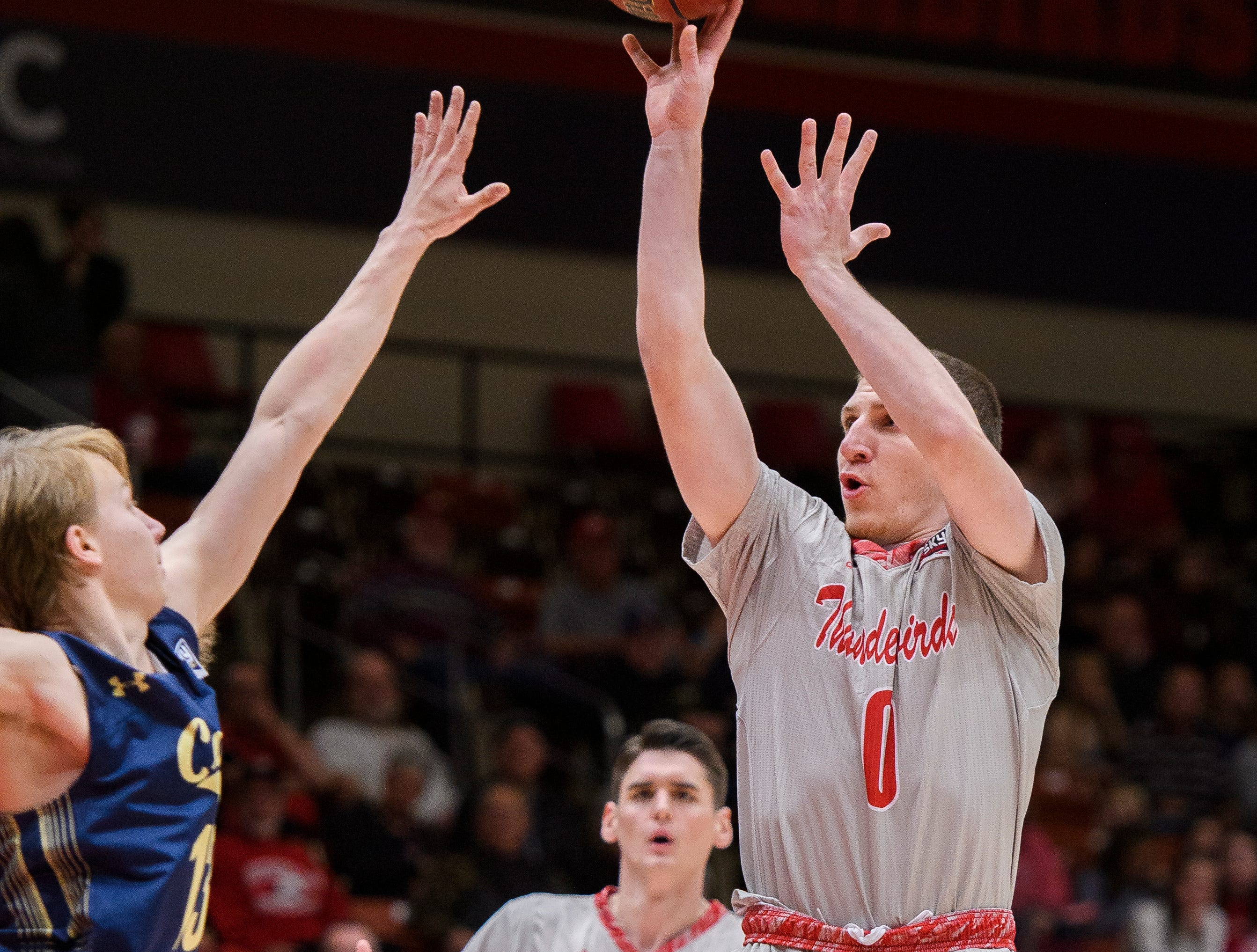 Southern Utah University freshman Dato Aphkhazava (0) scores against Montana State in the America First Event Center Saturday, December 29, 2018. SUU lost, 92-62.