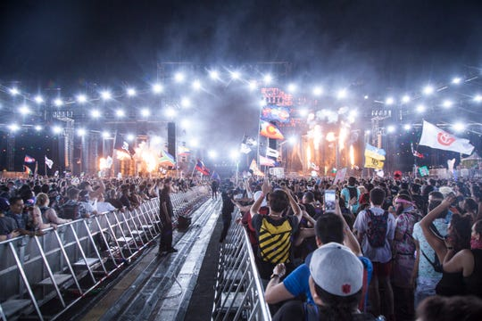 Electronic music fans gather at the Las Vegas Motor Speedway for the annual Electric Daisy Carnival Sunday, May 20, 2018.