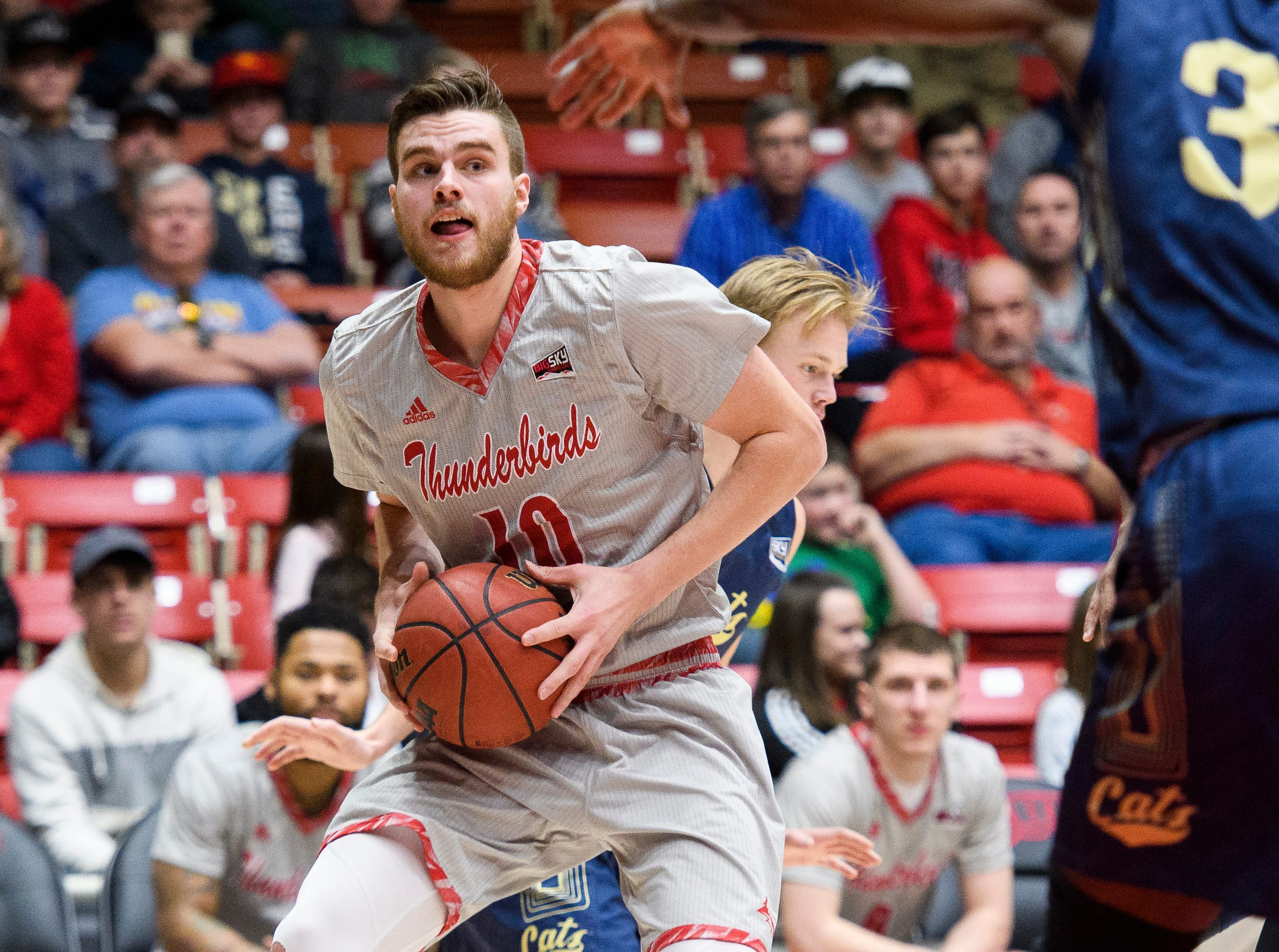 Southern Utah University junior Jacob Calloway (10) looks to the basket during the game against Montana State in the America First Event Center Saturday, December 29, 2018. SUU lost, 92-62.