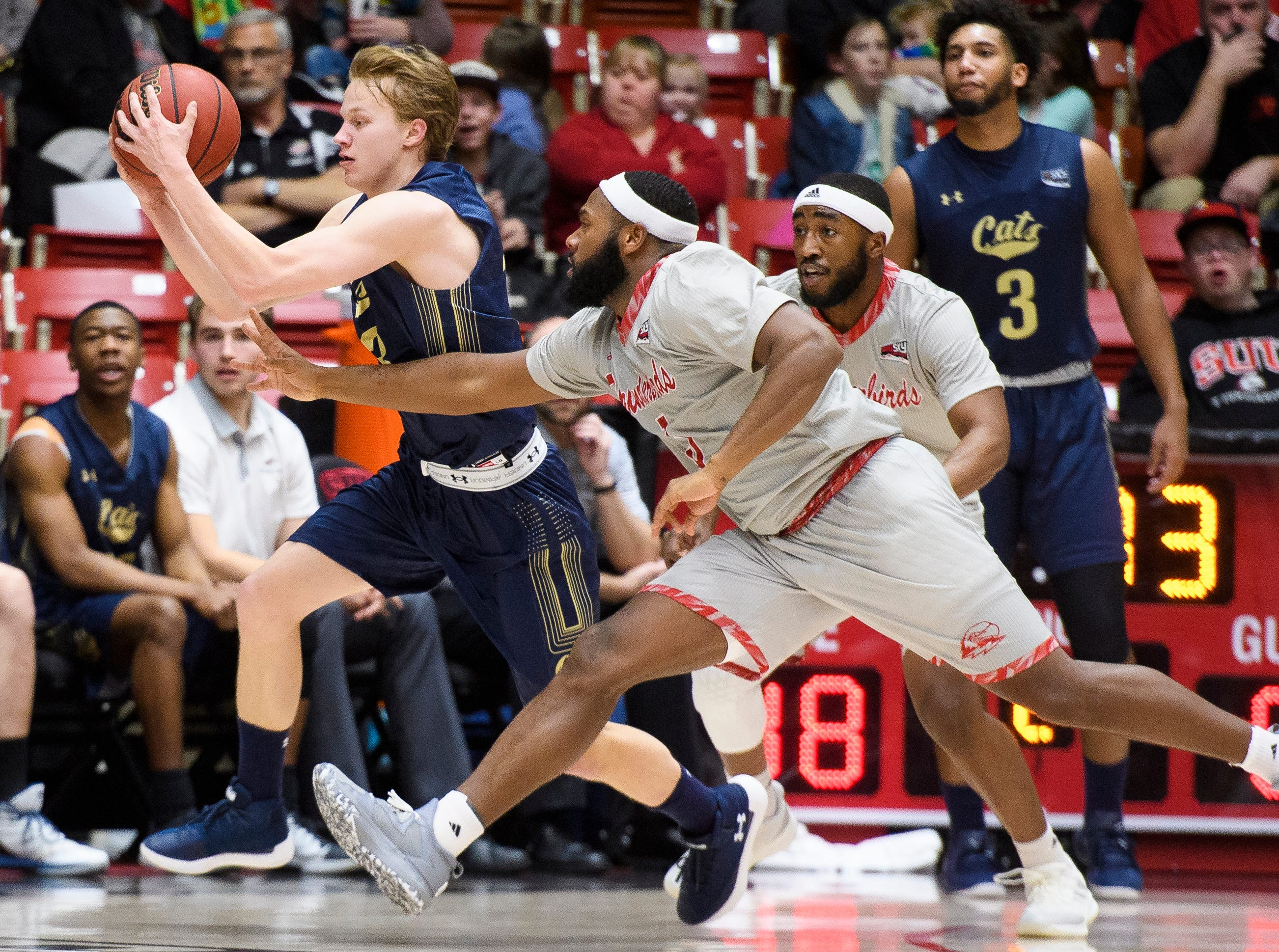 The Southern Utah University men's basketball team plays against Montana State in the America First Event Center Saturday, December 29, 2018. SUU lost, 92-62.
