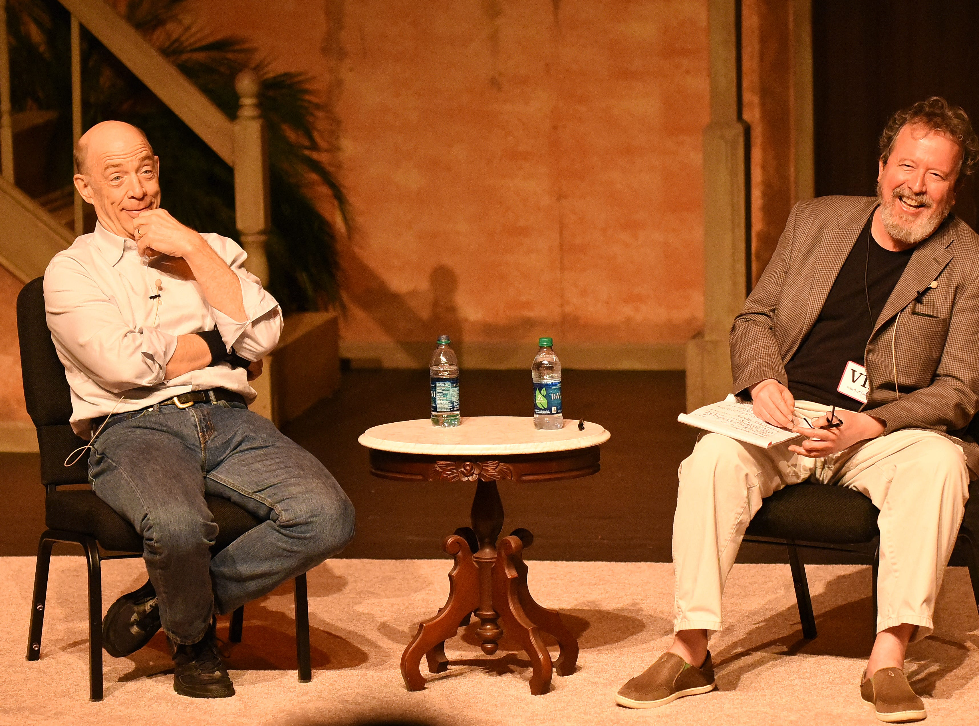 Mark Hinson interviews Oscar winner JK Simmons on stage at Theatre Tallahassee, as a fundraiser for the Symphony, and as part of Word South festival in 2015