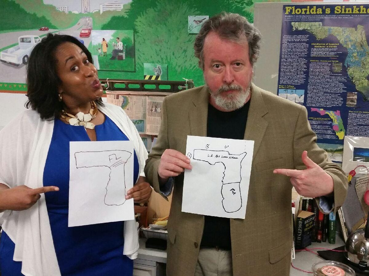 Reporters TaMaryn Waters and Mark Hinson show off their hand-drawn maps of Florida.