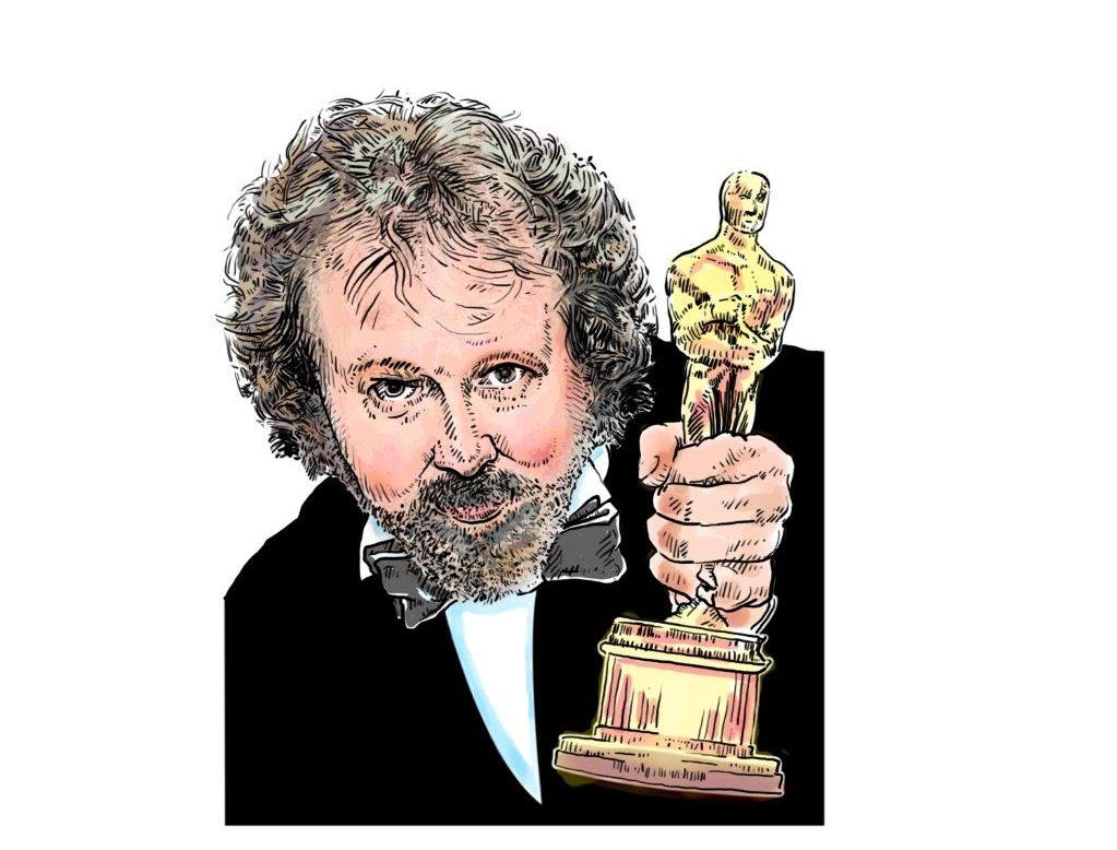 """This sketch of Mark Hinson was created for a live """"An Evening with Mark Hinson"""" prior to the Oscars one year."""