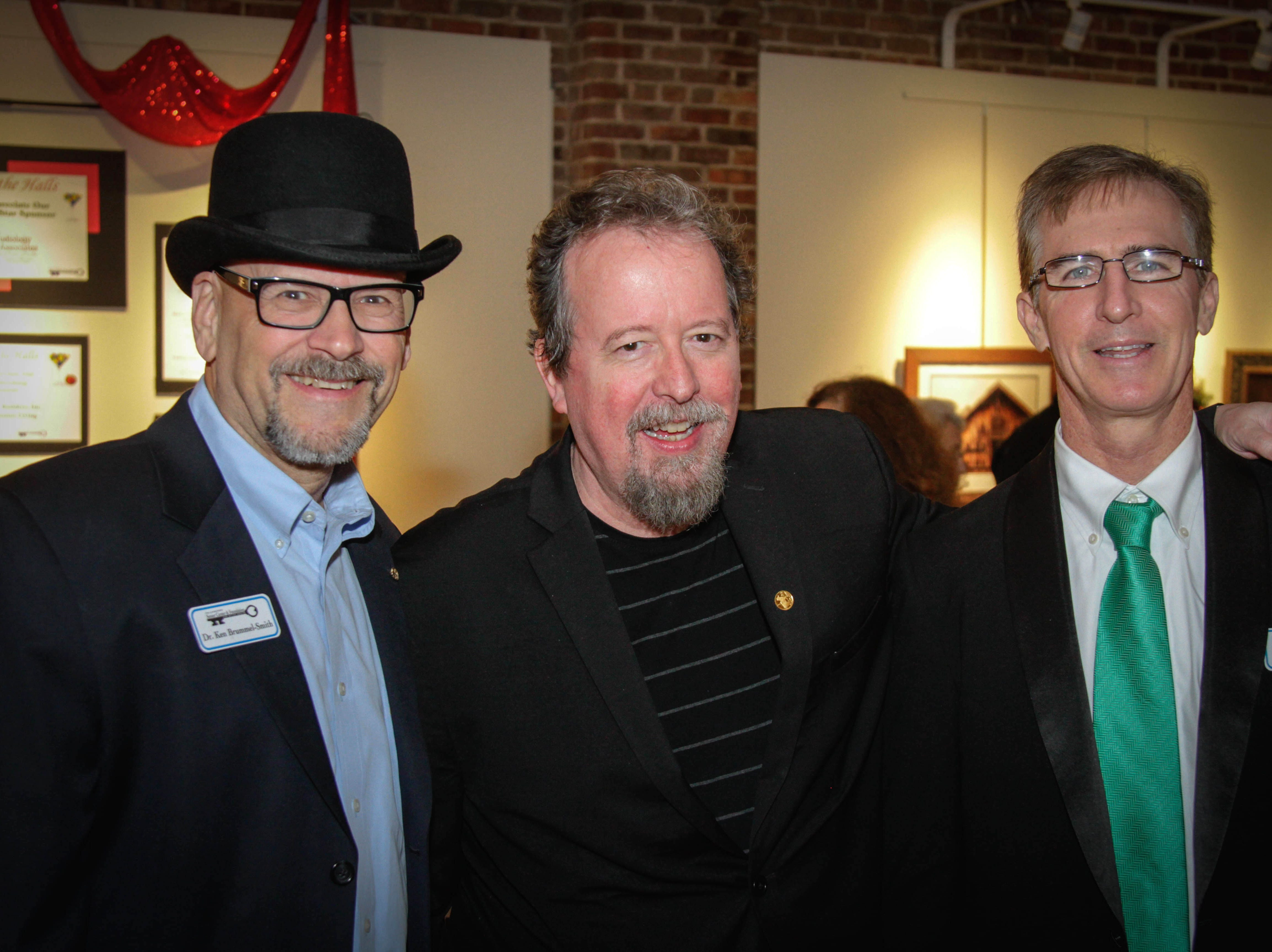 From left, Tallahassee Senior Foundation Board Ken Brummel Smith M.D., Tallahassee Democrat entertainment reporter, humorist, and Emcee of Deck the Halls, Mark Hinson, and Doug Carlson, Vice-President of the Board and 2016 Deck the Halls Chair celebrate a fun evening.
