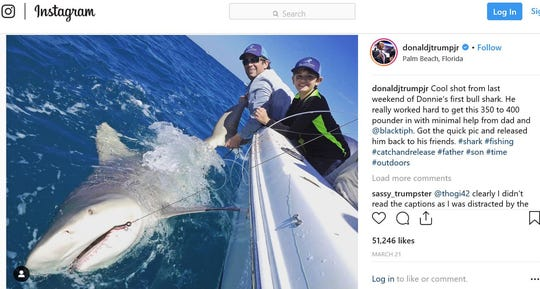 Donald Trump Jr. (left) and son Donnie are in this Instagram post from Trump Jr.'s account after a March 21 fishing trip offshore of Palm Beach. Trump Jr.'s son caught and released his first bull shark. PHOTO CREDIT ON INSTAGRAM BY JOSH JORGENSEN