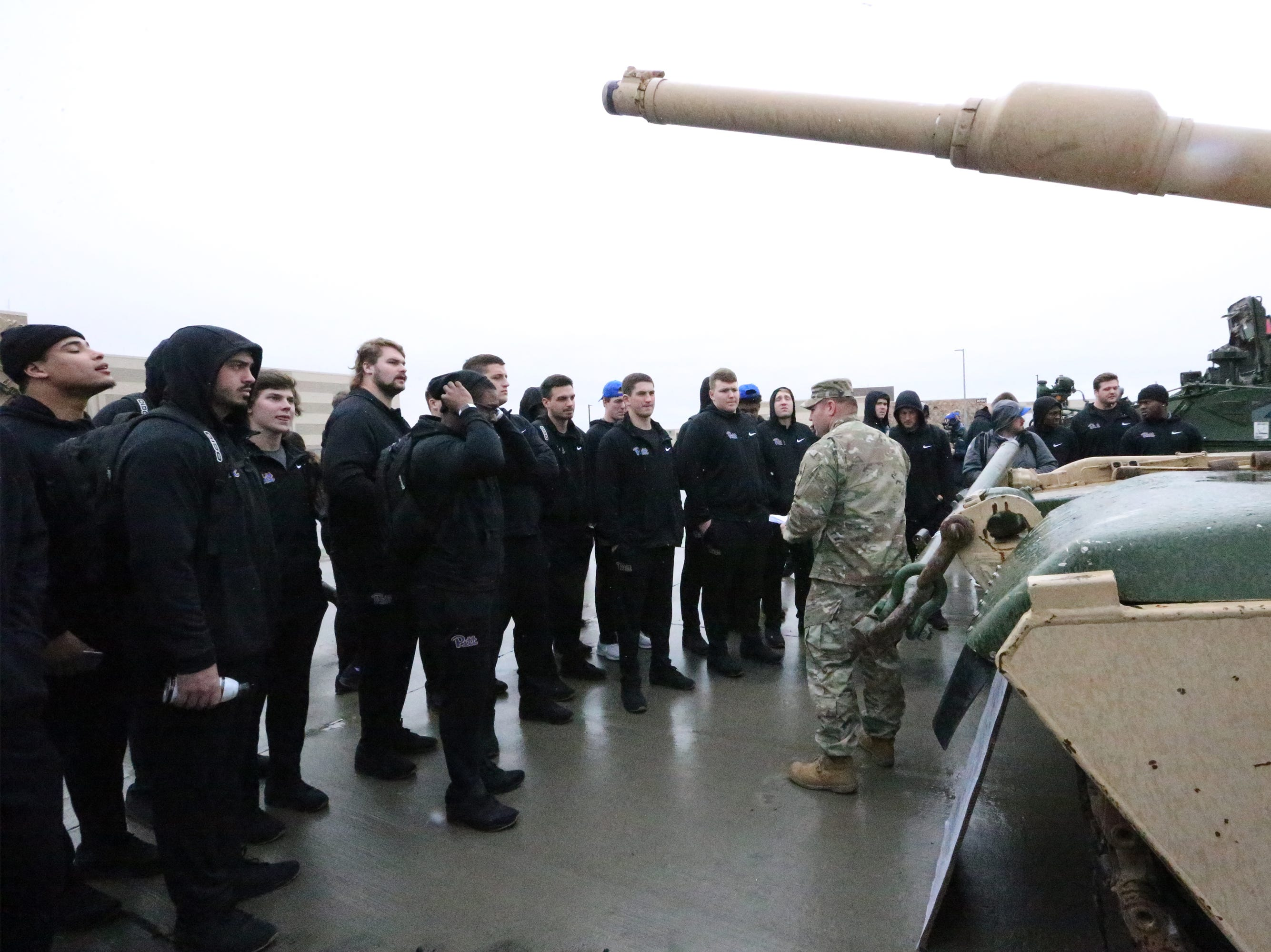 The University of Pittsburgh football team got up close to military hardware during a visit to Fort Bliss Friday.