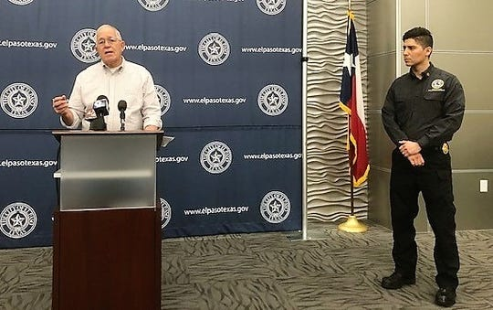 Ruben Garcia, executive director of Annunciation House, and Deputy Fire Chief Jorge Rodriguez, city Emergency Management coordinator, talk about immigrants being dumped by federal agents at an El Paso bus station during a Dec. 28 press conference.